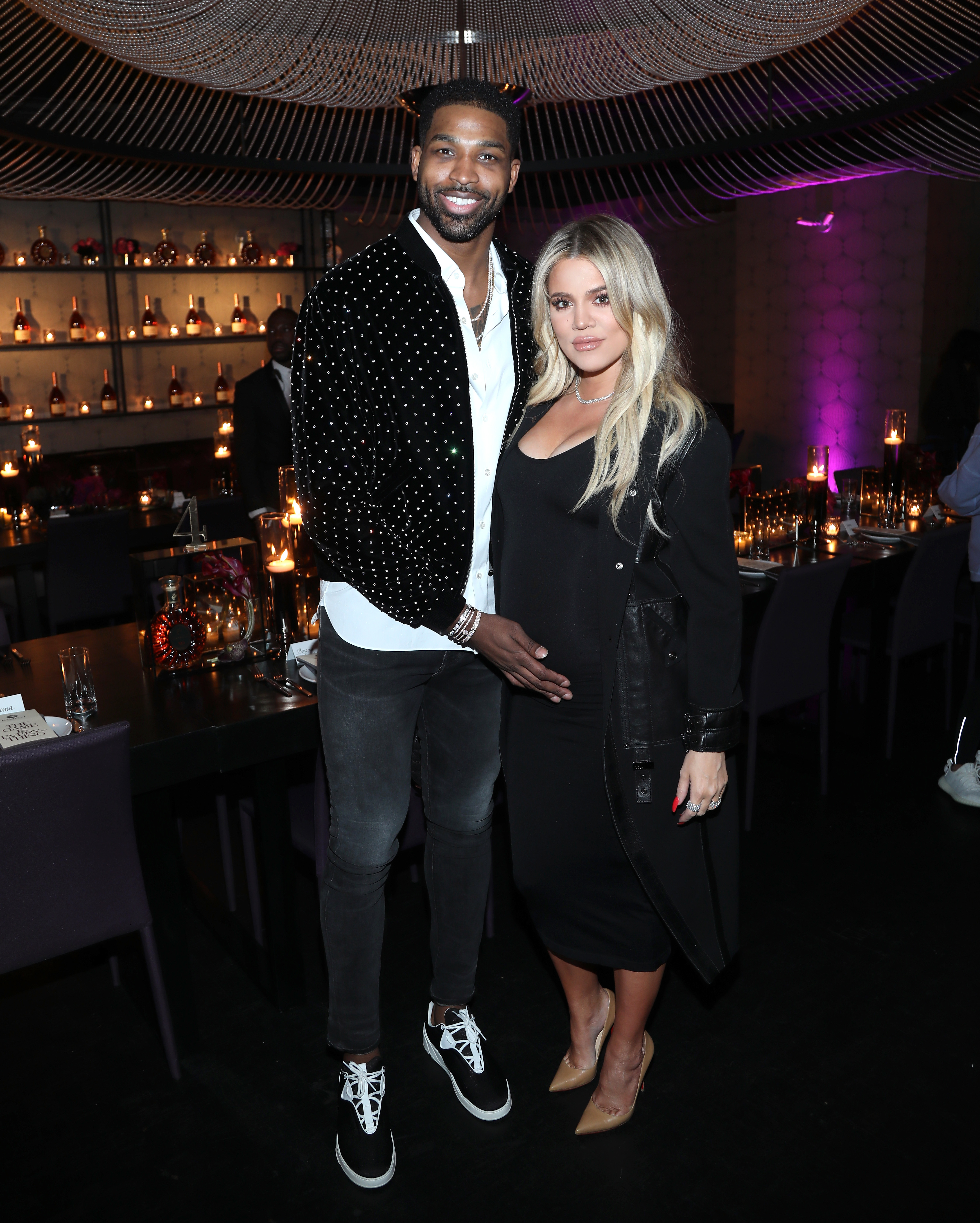 "Tristan Thompson and Khloe Kardashian attend the Klutch Sports Group's ""The Game Is Every Thing"" Dinner presented by Remy Martin at Beauty & Essex in Hollywood on Feb. 17, 2018."