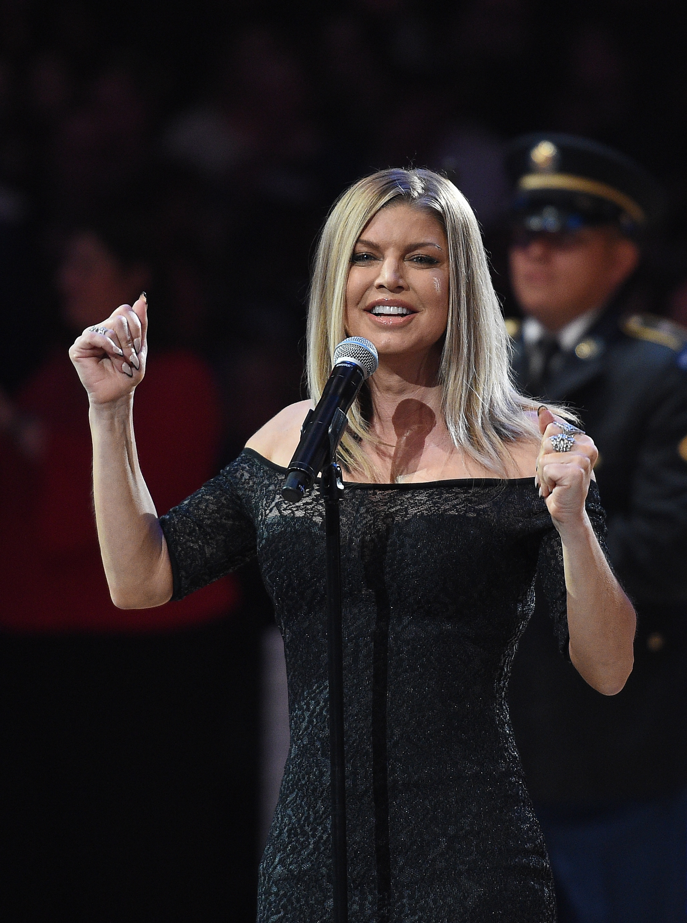 Fergie sings the National Anhtem prior to the NBA All Star Game 2018 at Staples Center in Los Angeles on Feb 18, 2018.