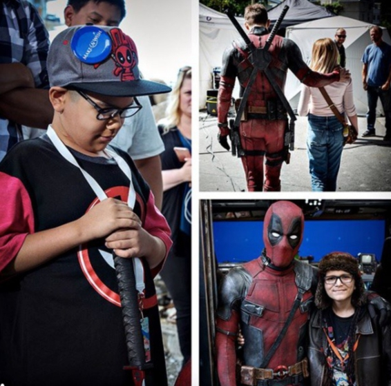 "Ryan Reynolds shares photos from his visit with kids from the Make a Wish Foundation on the set of ""Deadpool 2"" on Feb. 19, 2018."