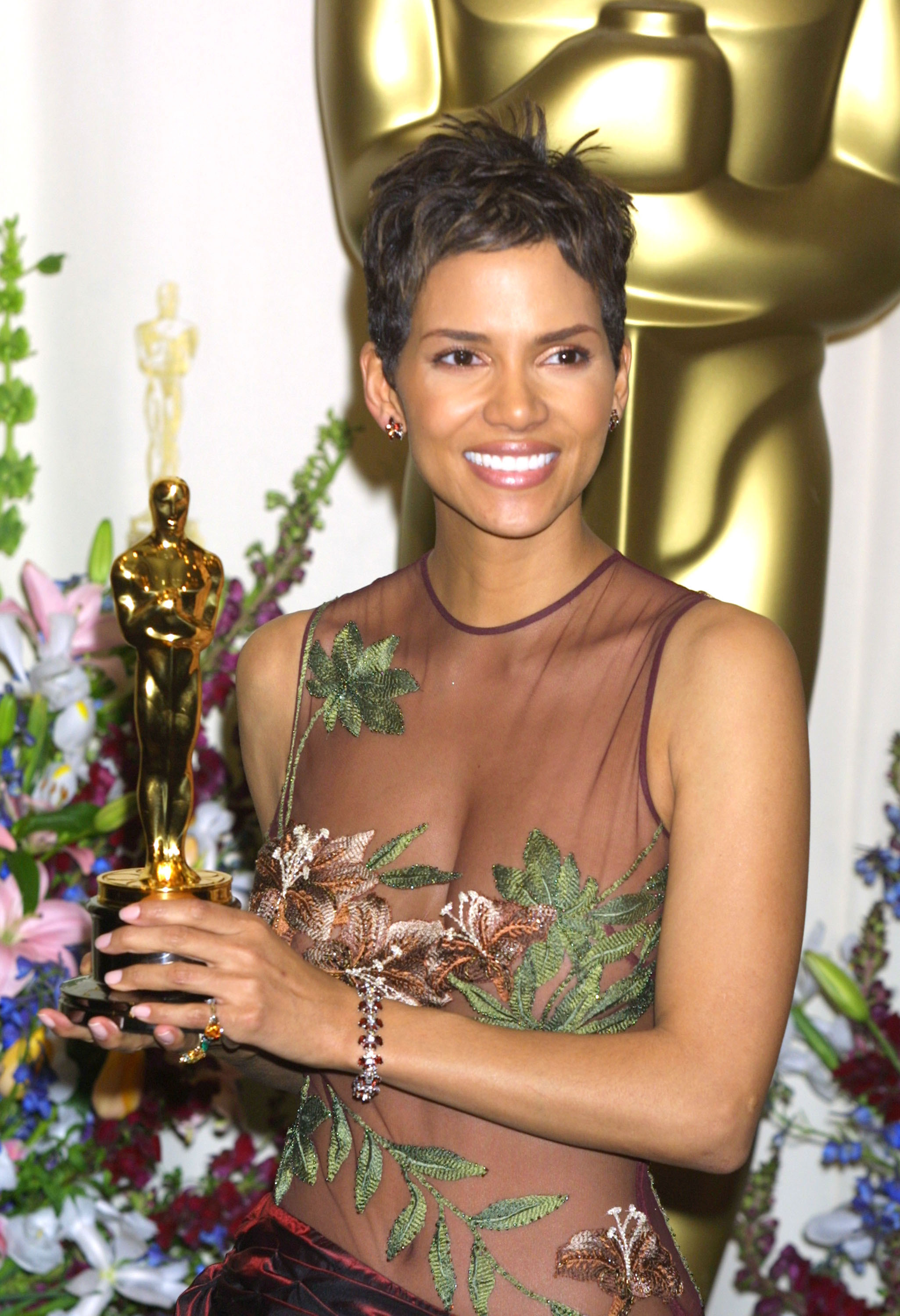 Halle Berry is shown at the  74th Annual Academy Awards in Hollywood, California on March 24, 2002.