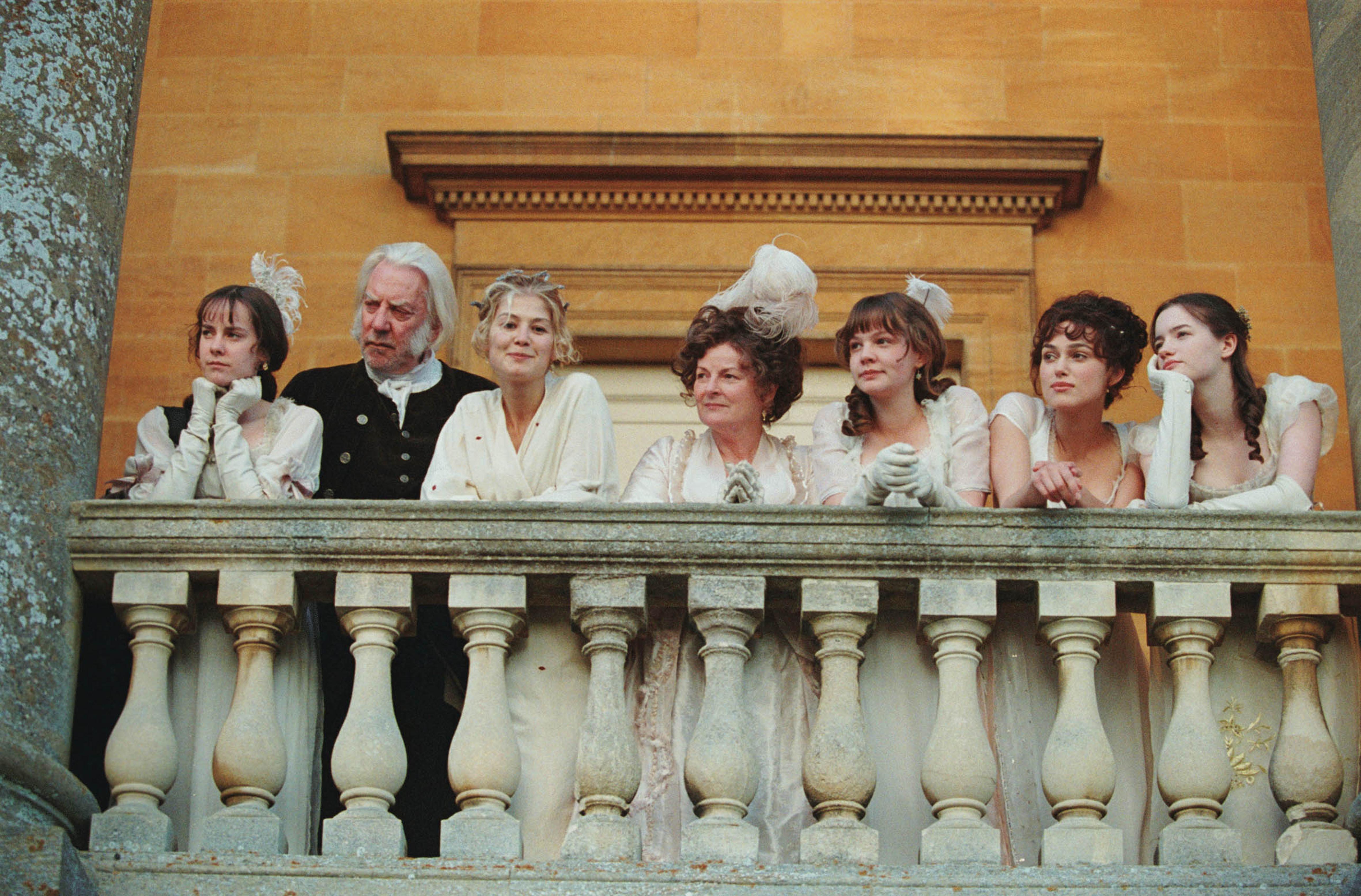"Jena Malone, Donald Sutherland, Rosamund Pike, Brenda Blethyn, Carey Mulligan, Keira Knightley and Talulah Riley starred in 2005's ""Pride and Prejudice."""