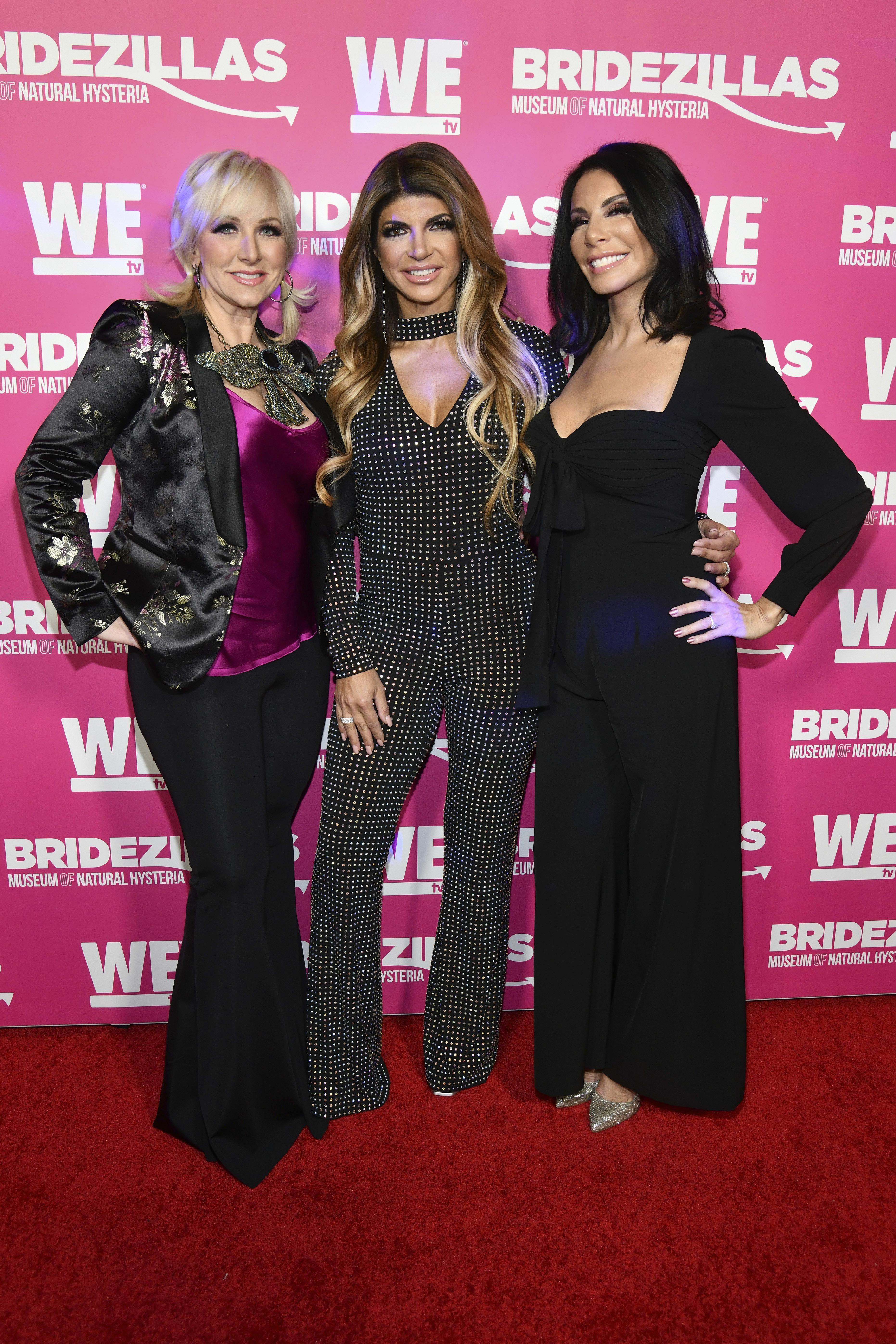 "Margaret Josephs, Teresa Giudice and Danielle Staub attend WE TV's ""Bridezillas"" Season 11 premiere party in New York City on Feb. 22, 2018."