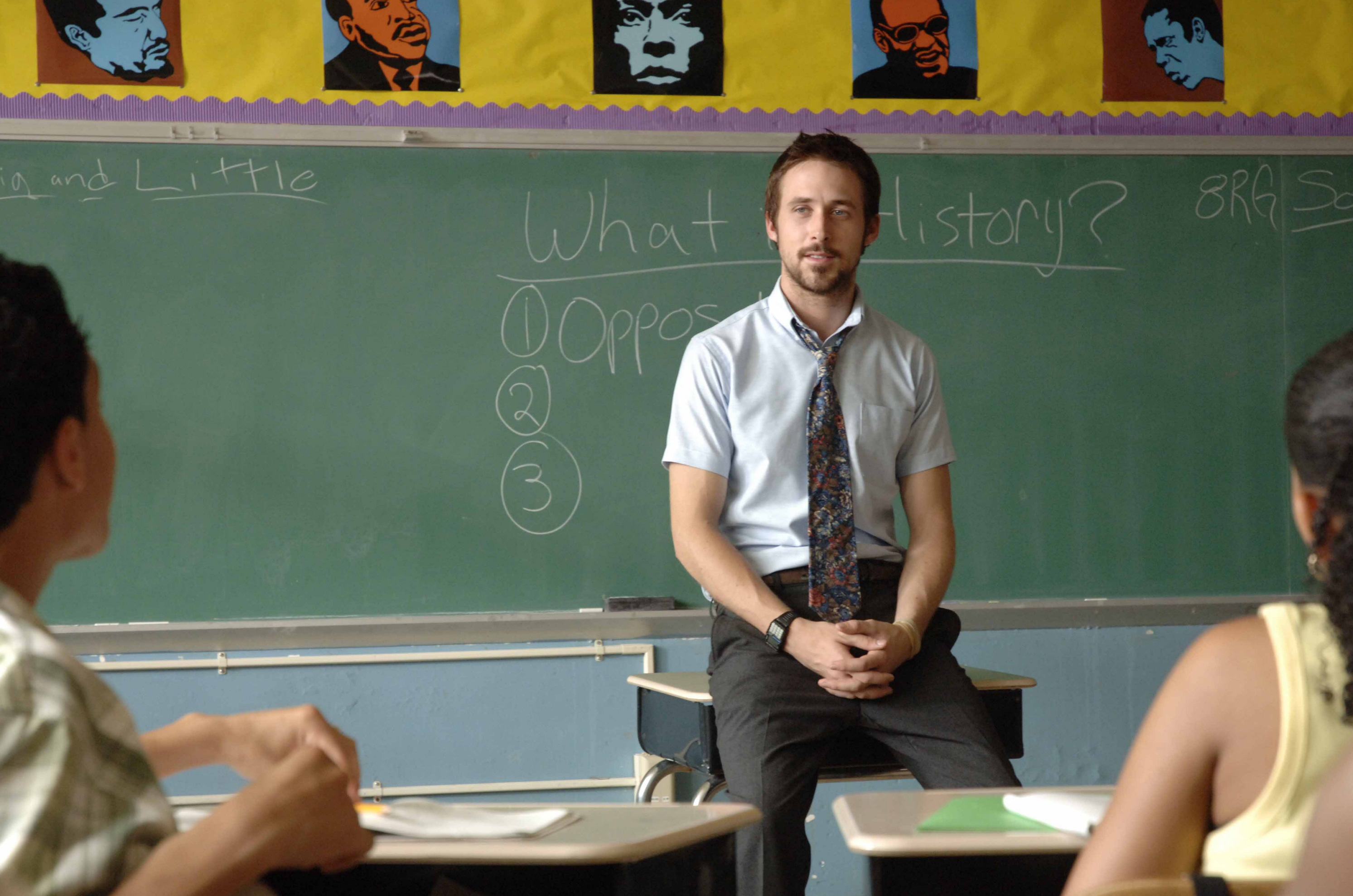 """Ryan Gosling is shown on the set of """"Half Nelson"""" in 2006."""