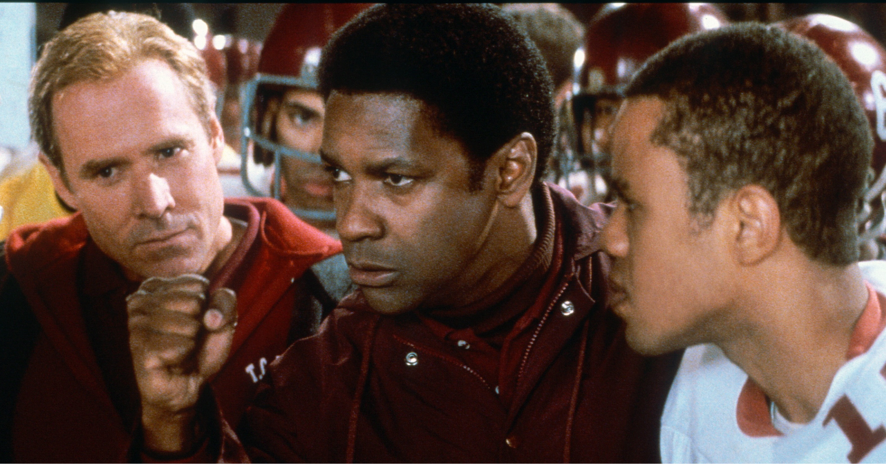 "Will Patton, Denzel Washington and Craig Kirkwood are shown on the set of ""Remember the Titans"" in 2000."