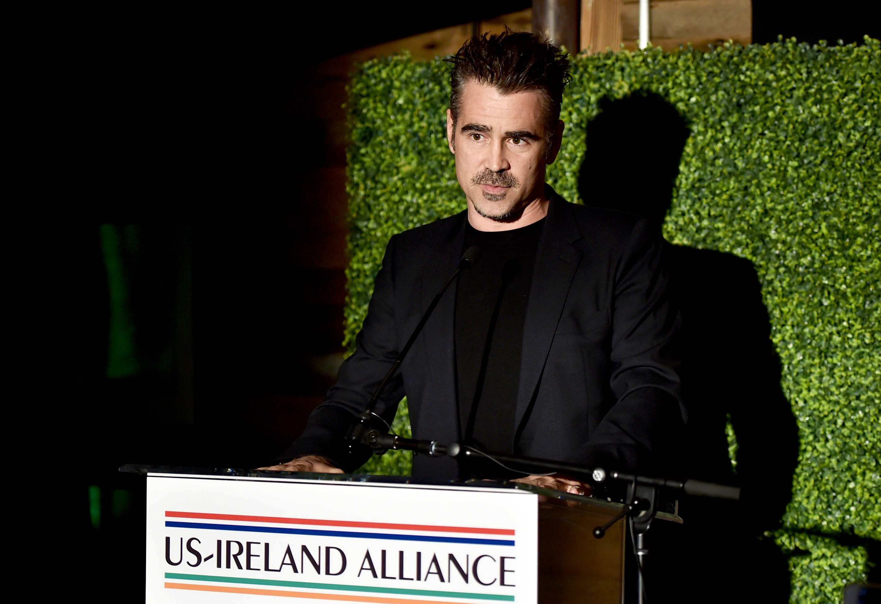 Colin Farrell speaks during the Oscar Wilde Awards at Bad Robot headquarters in Santa Monica on March 1, 2018.