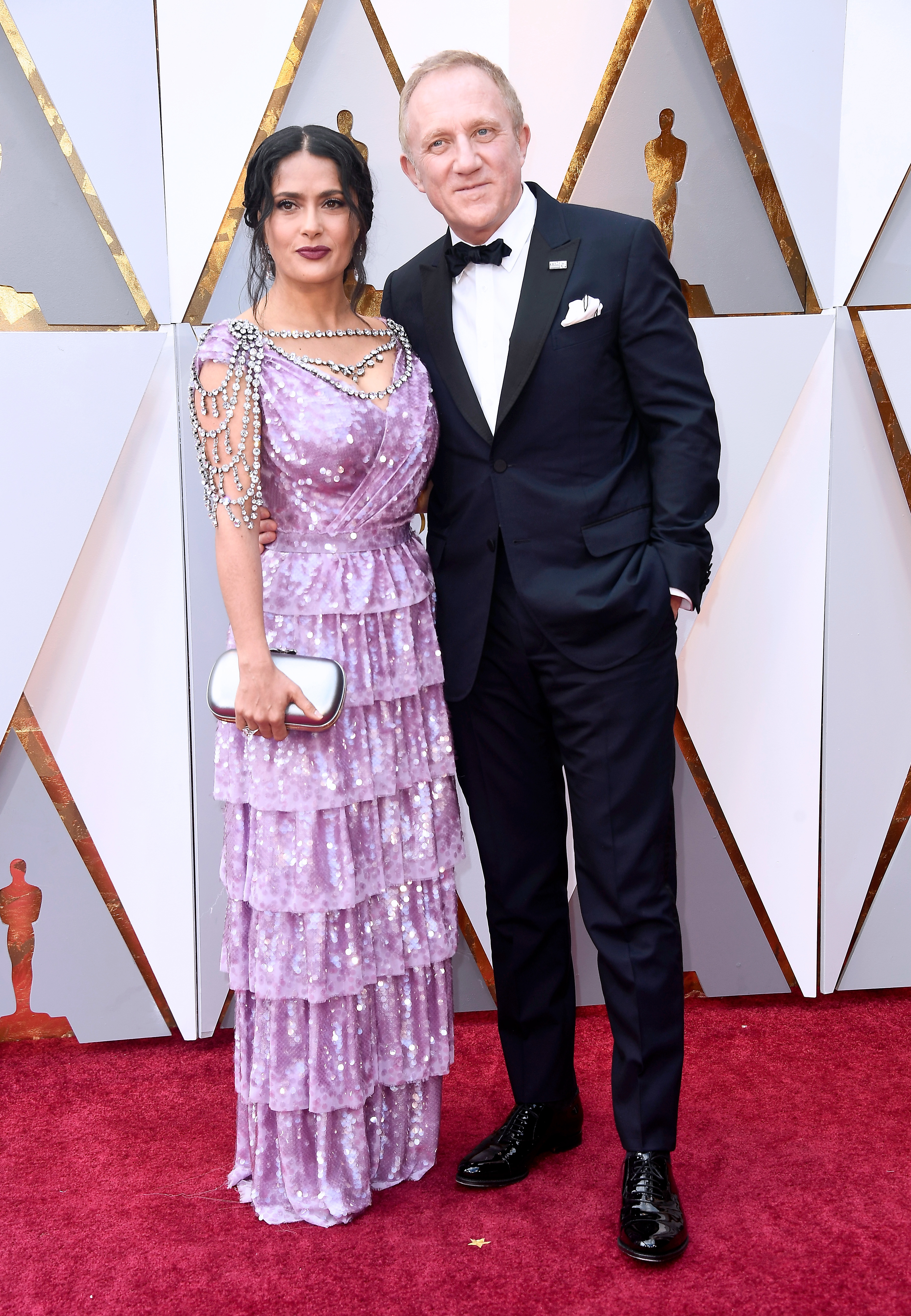 Salma Hayek and husband François Henri Pinault attend the 90th Annual Academy Awards in Hollywood on March 4, 2018.