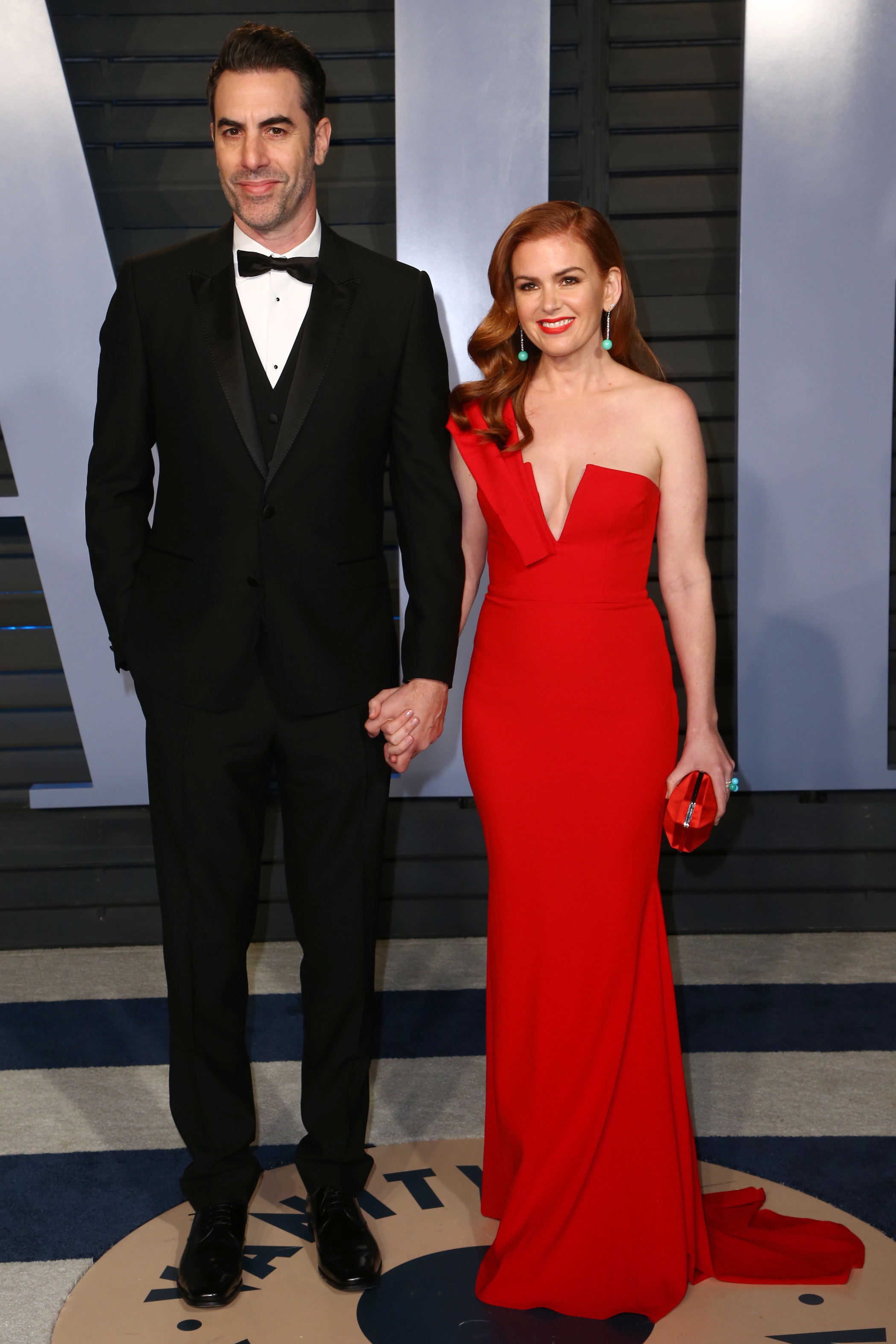 Sacha Baron Cohen and Isla Fisher attend the Vanity Fair Oscar Party in Beverly Hills on March 4, 2018.
