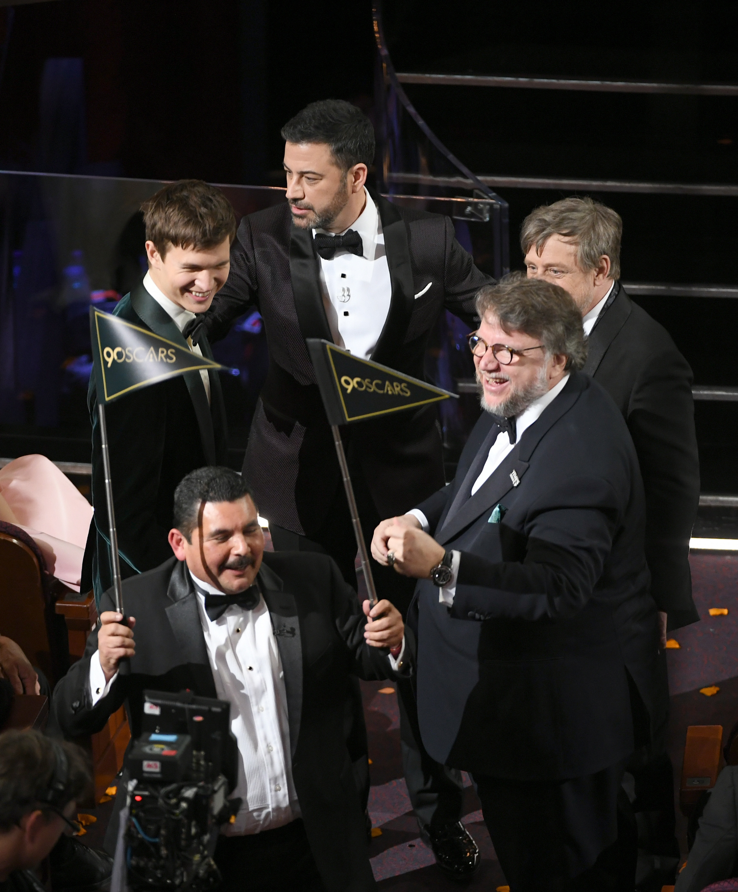 Ansel Elgort, host Jimmy Kimmel, actor Mark Hamill, director Guillermo del Toro, and TV personality Guillermo Rodriguez speak onstage during the 90th Annual Academy Awards at the Dolby Theatre at Hollywood & Highland Center in Hollywood, California on March 4, 2018.