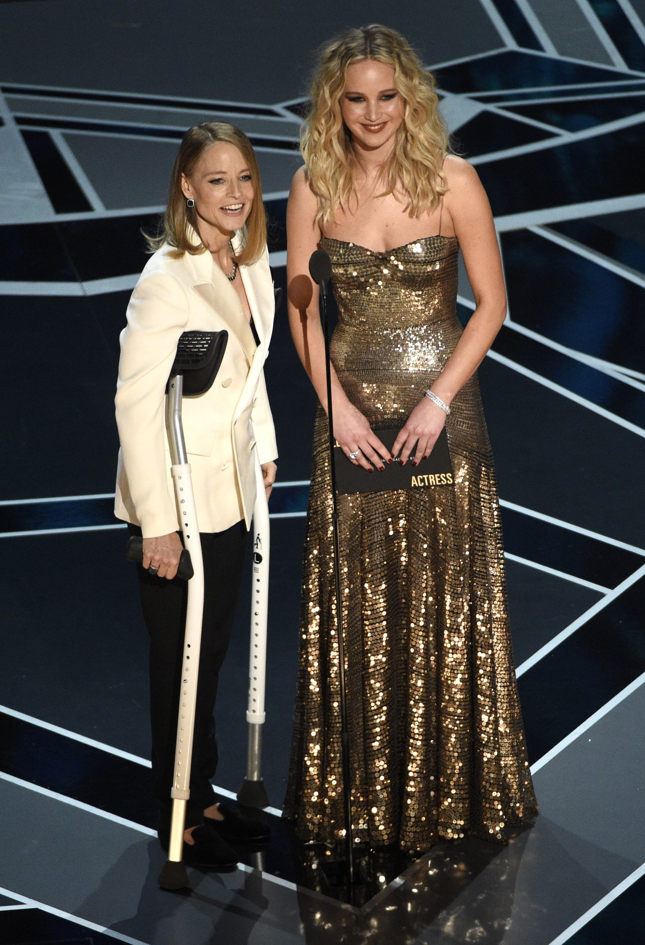 Jodie Foster and Jennifer Lawrence present the award for best performance by an actress in a leading role at the Oscars at the Dolby Theatre in Hollywood on March 4, 2018.