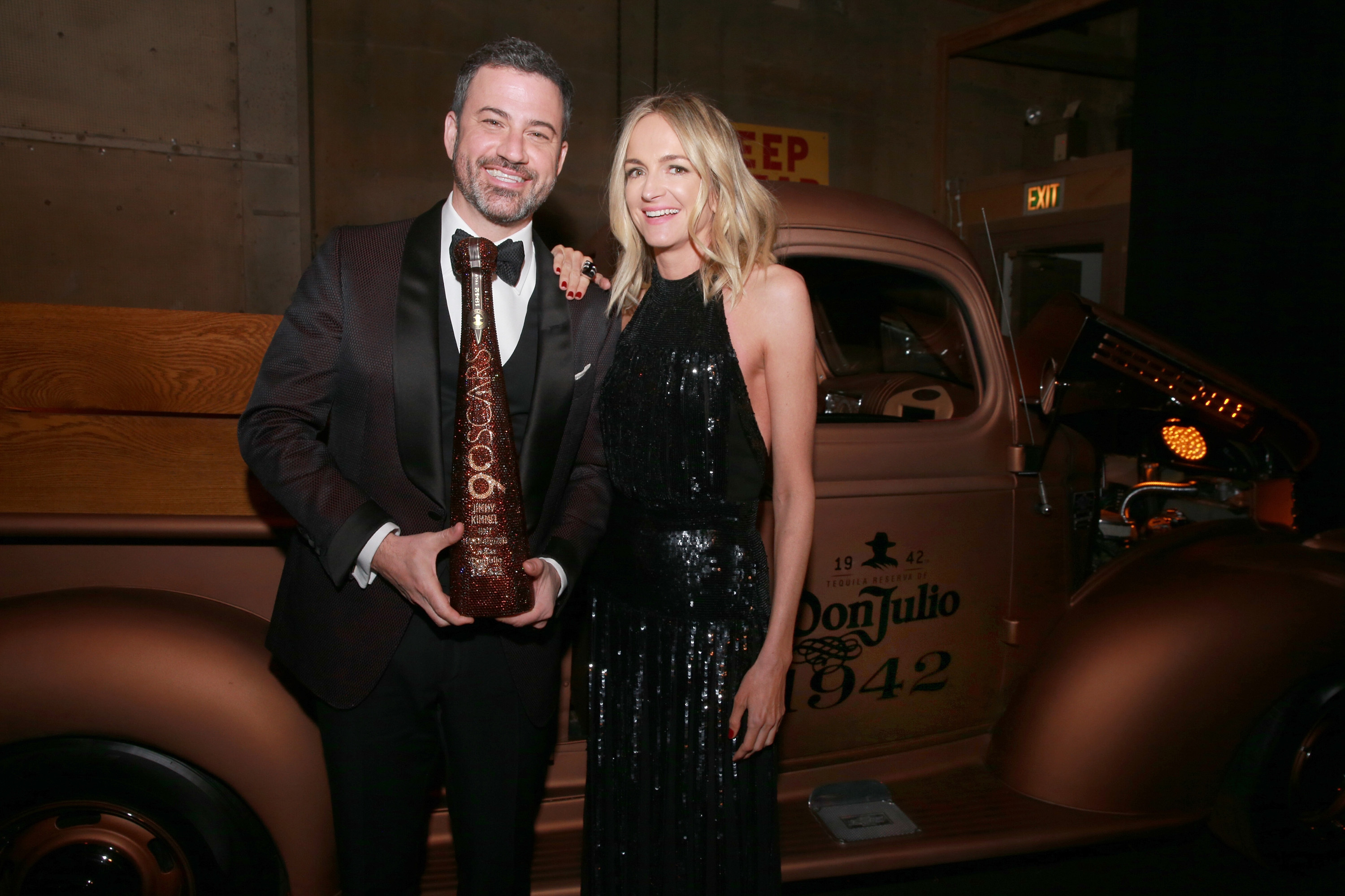 Jimmy Kimmel and wife Molly McNearney attend his Academy Awards afterparty with Don Julio 1942 Magnum at The Lot in West Hollywood on March 4, 2018.