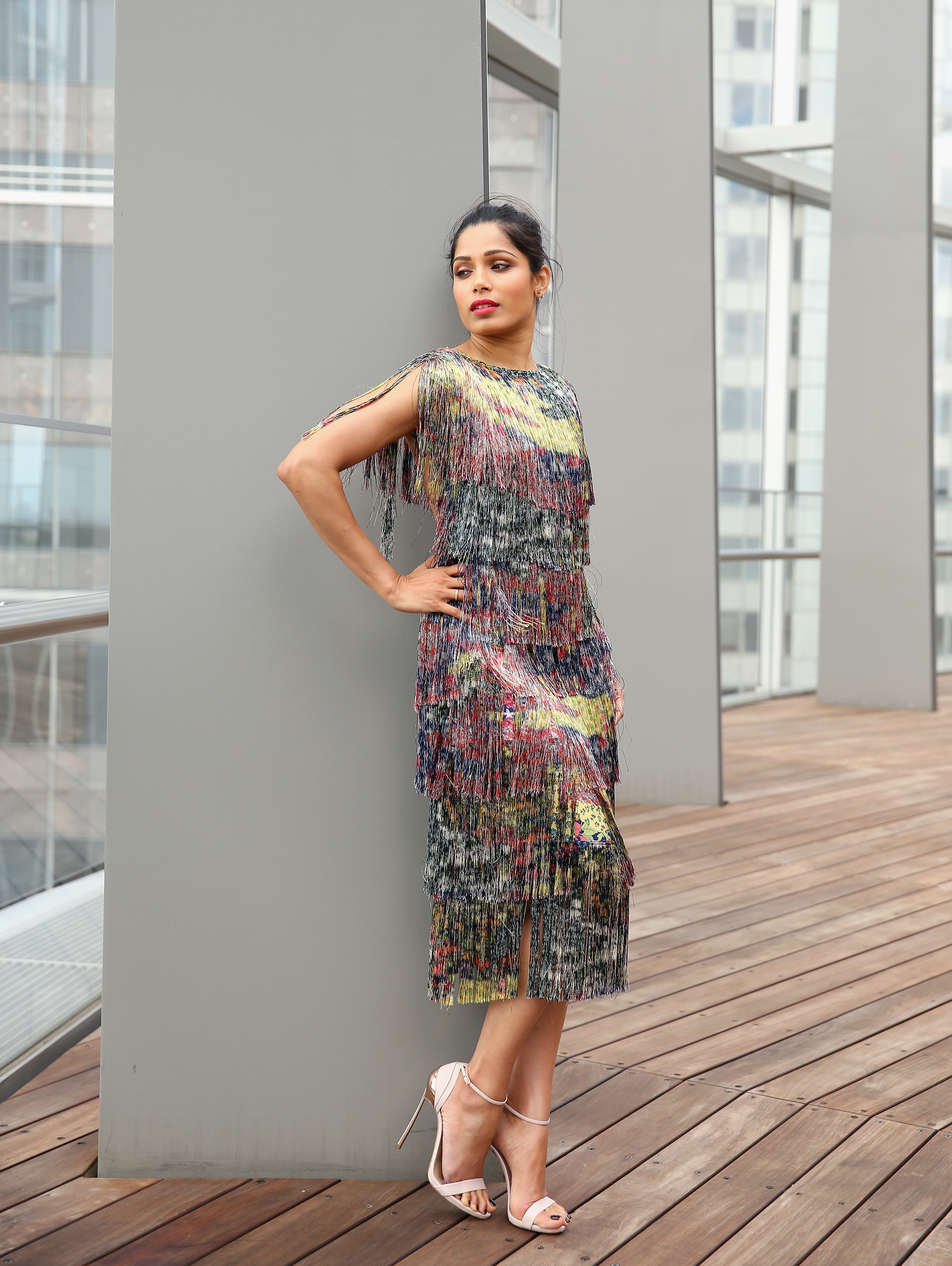 Freida Pinto poses during the Veuve Clicquot New Generation Award in Sydney on March 6, 2018.