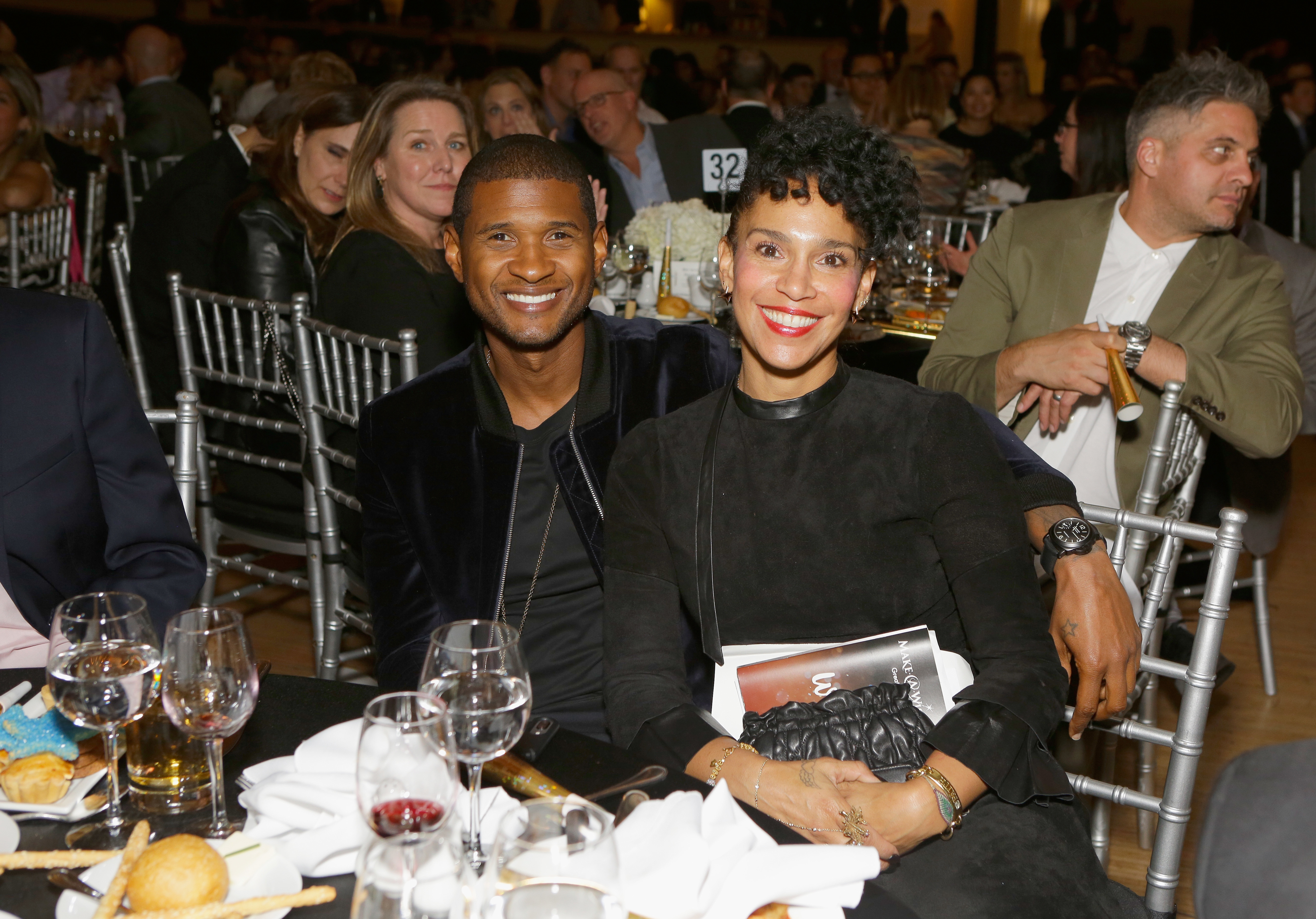 Usher Raymond and Grace Miguel attend the Make a Wish Gala on in Los Angeles on Nov. 9, 2017.