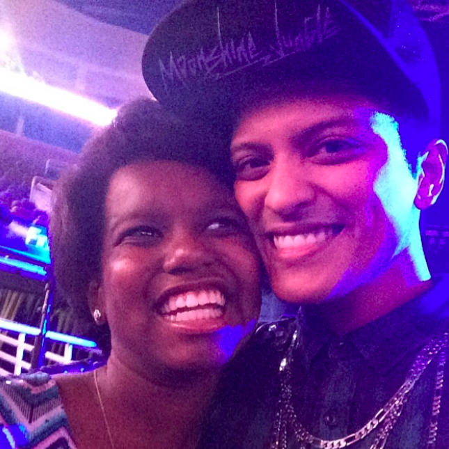 """""""Tonight's show was dedicated to this amazing young woman. I love you Zumyah""""   Bruno Mars, who posted this photo on Instagram on June 29, 2014"""