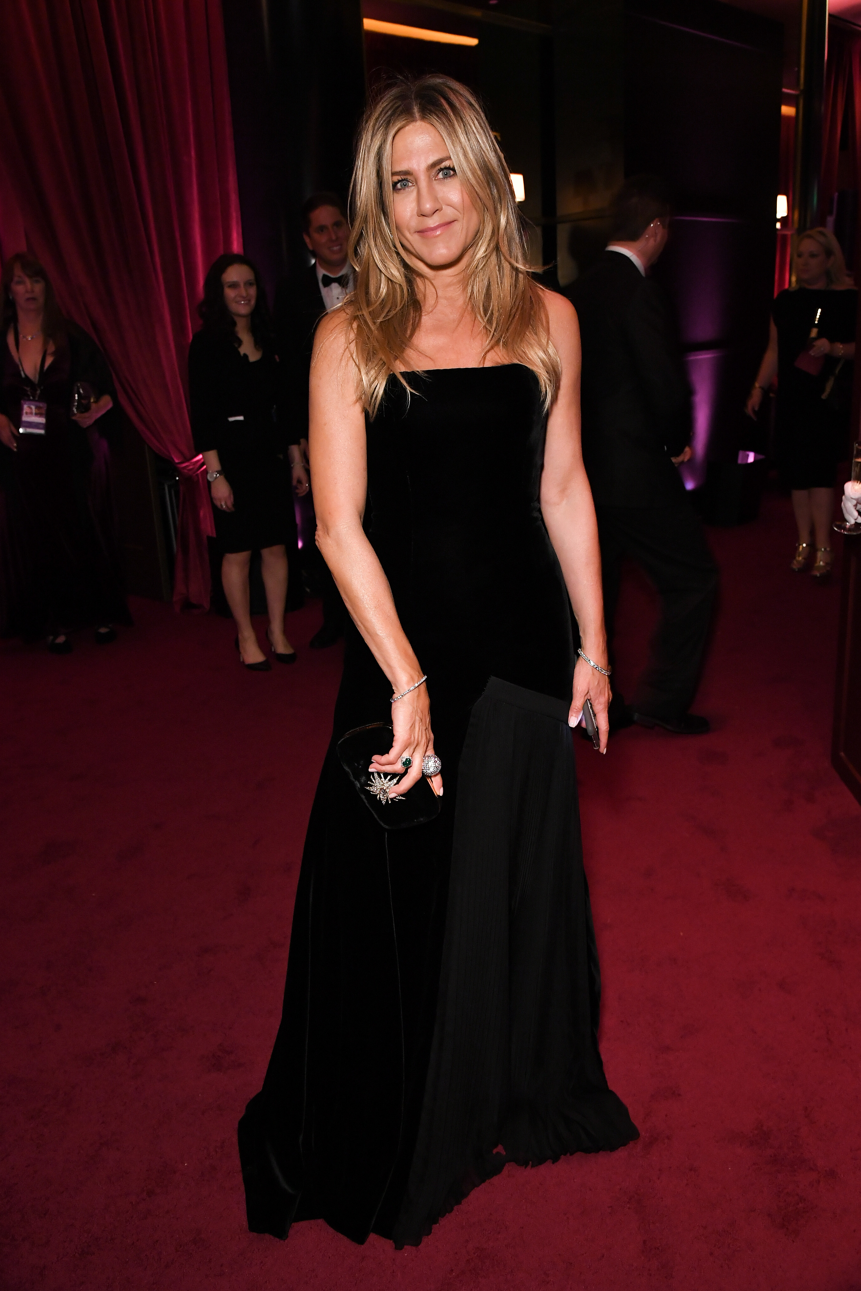 Jennifer Aniston wears Schiaparelli Couture inside the Netflix Golden Globes After Party in Los Angeles on Jan. 7, 2018.