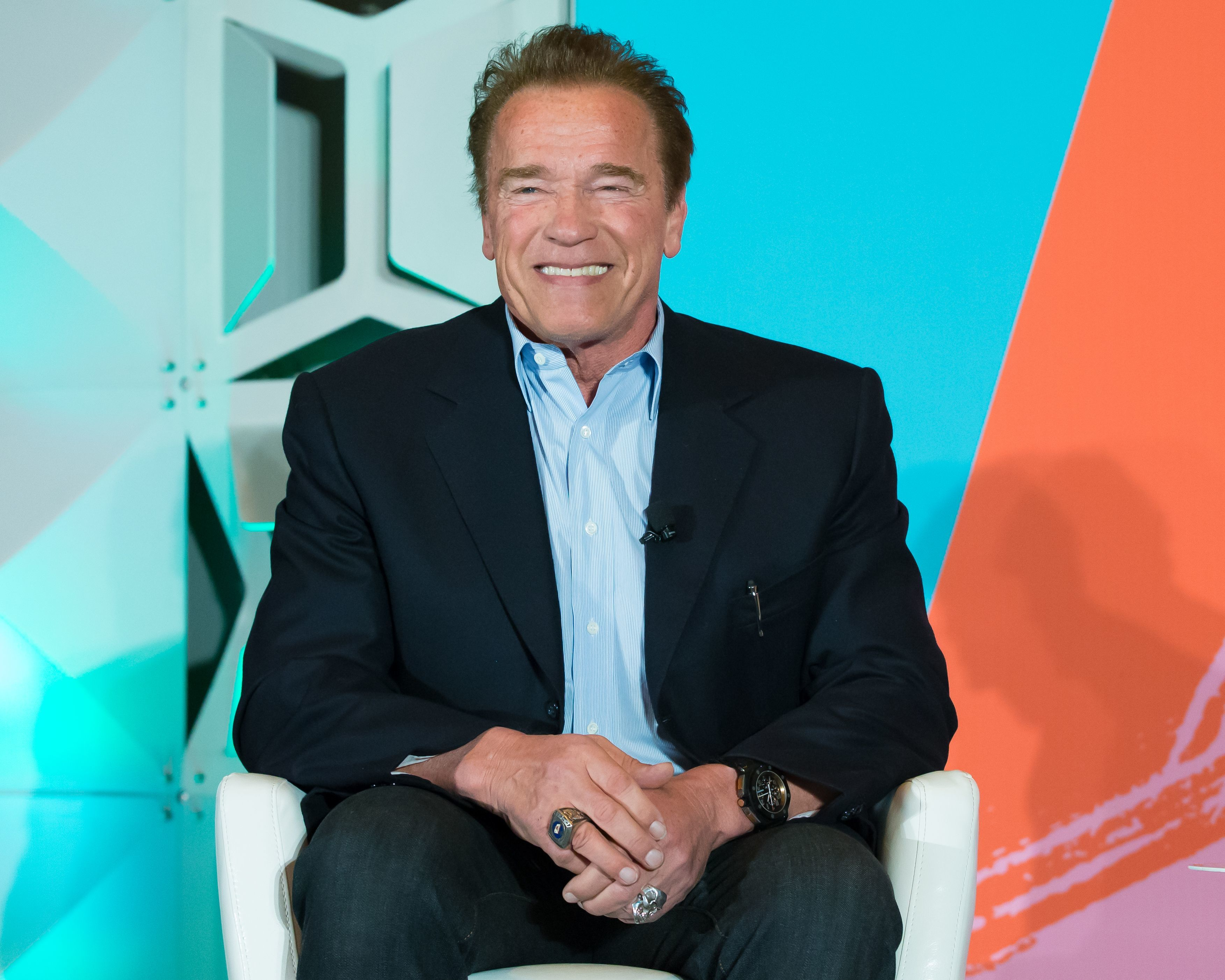 Arnold Schwarzenegger speaks during Politico's Off Message podcast taping during SXSW in Austin, Texas, on March 11, 2018.