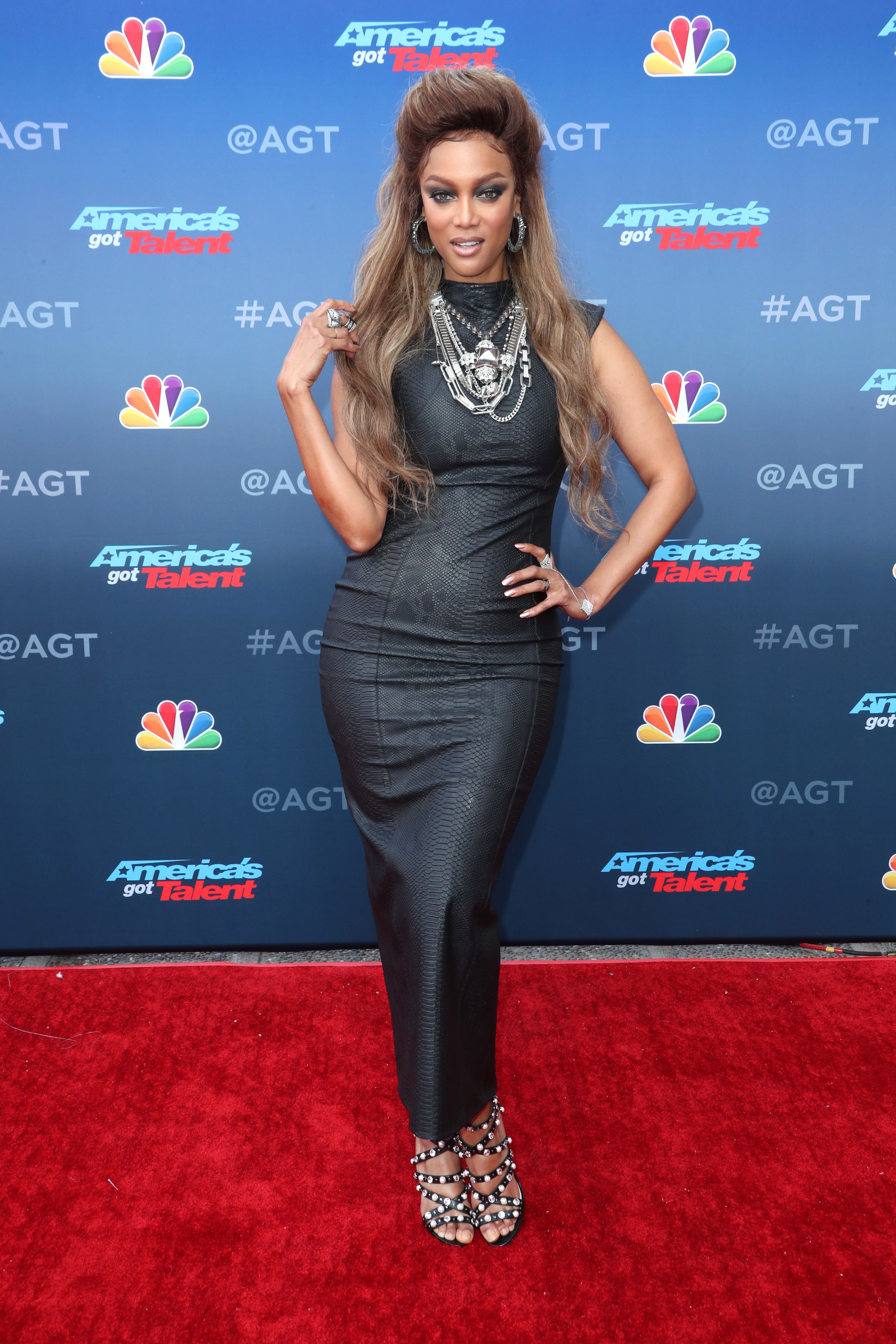 """Tyra Banks attends the """"America's Got Talent"""" kickoff event in Pasadena, California, on March 12, 2018."""