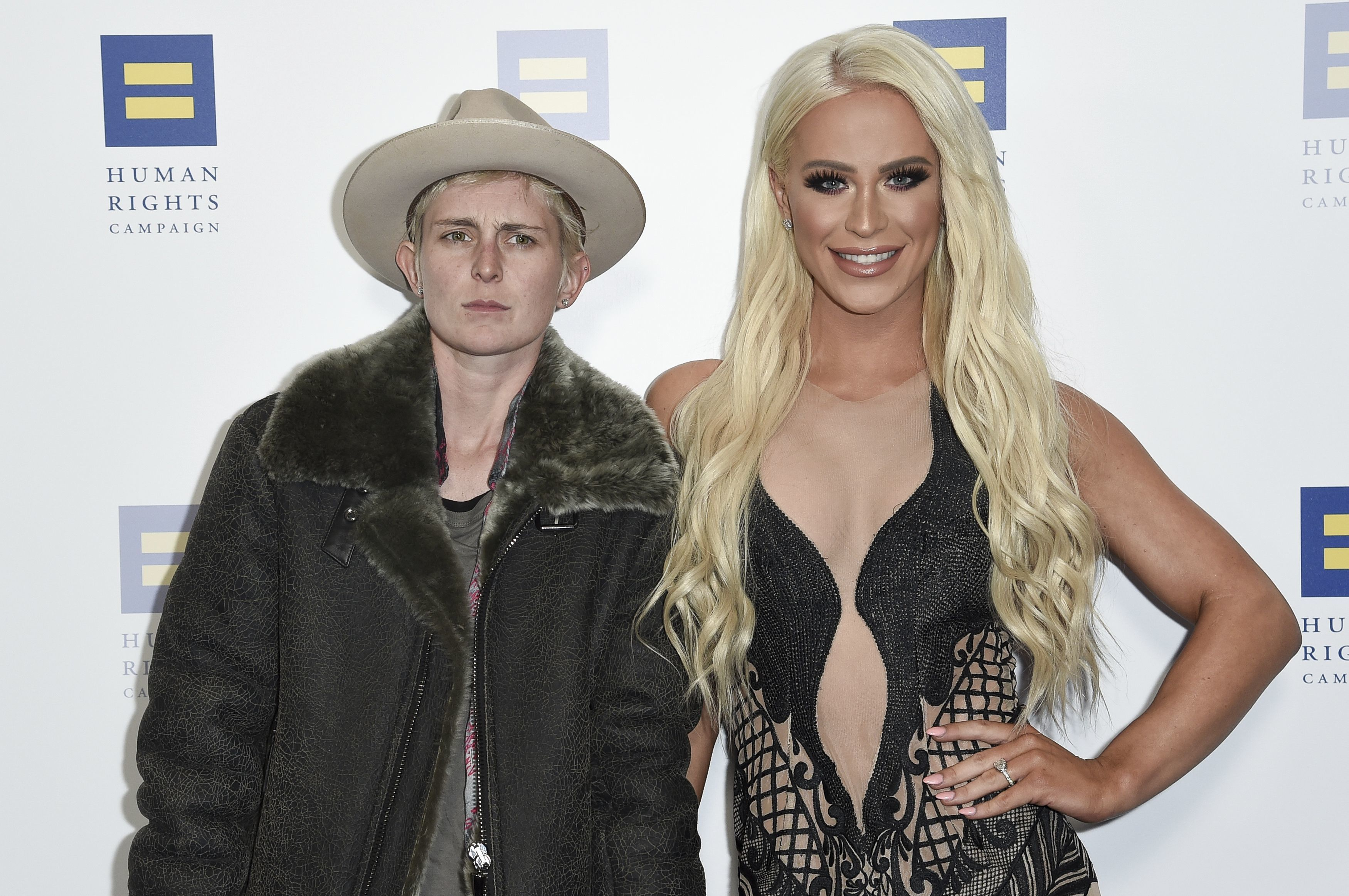 Nats Getty and Gigi Gorgeous attend the Human Rights Campaign Los Angeles Dinner at the JW Marriott L.A. Live on March 10, 2018.