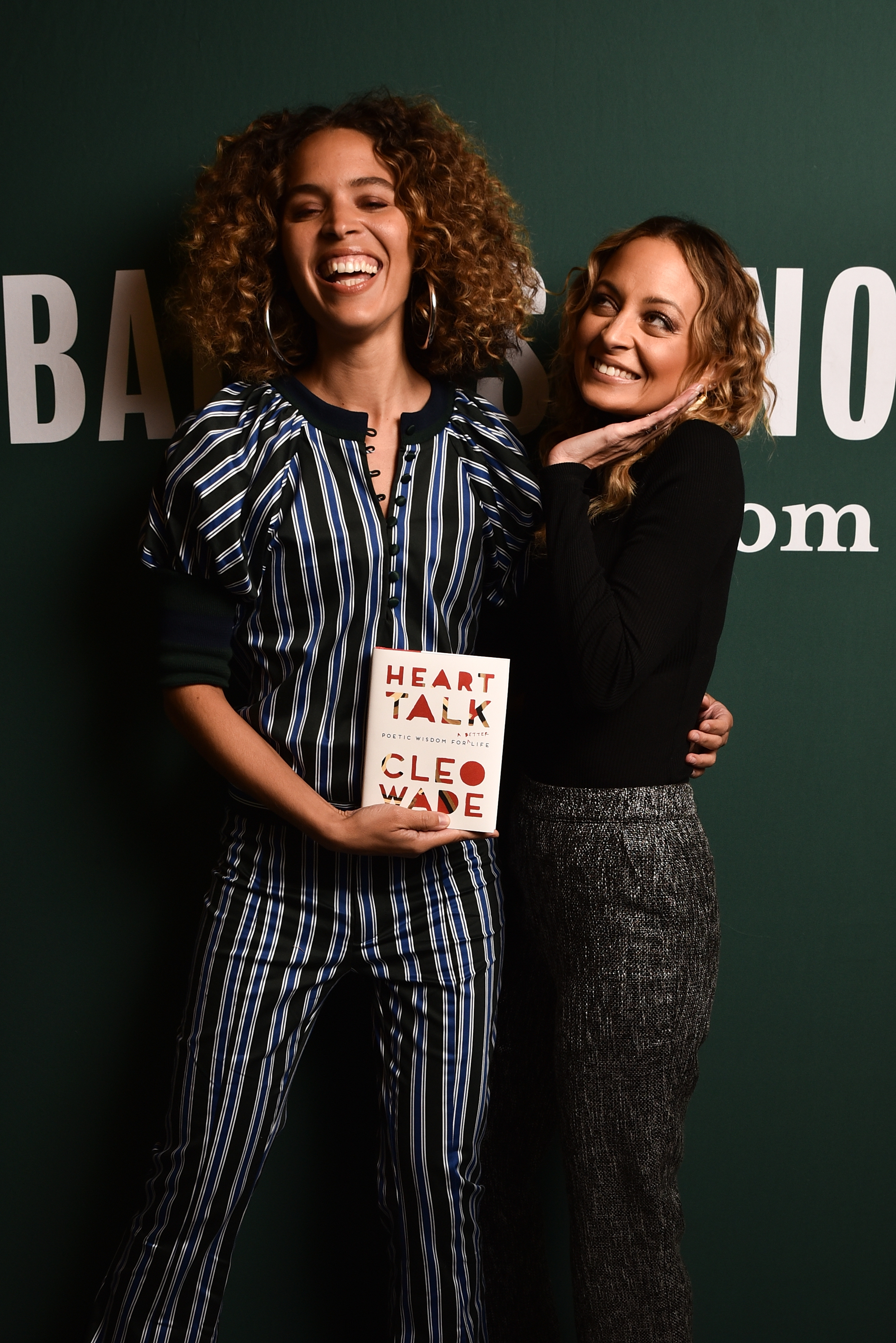 """Poet Cleo Wade and fashion designer Nicole Richie pose for portraits before the signing and discussion of their new book """"Heart Talk"""" at Barnes & Noble at The Grove in Los Angeles on March 14, 2018."""