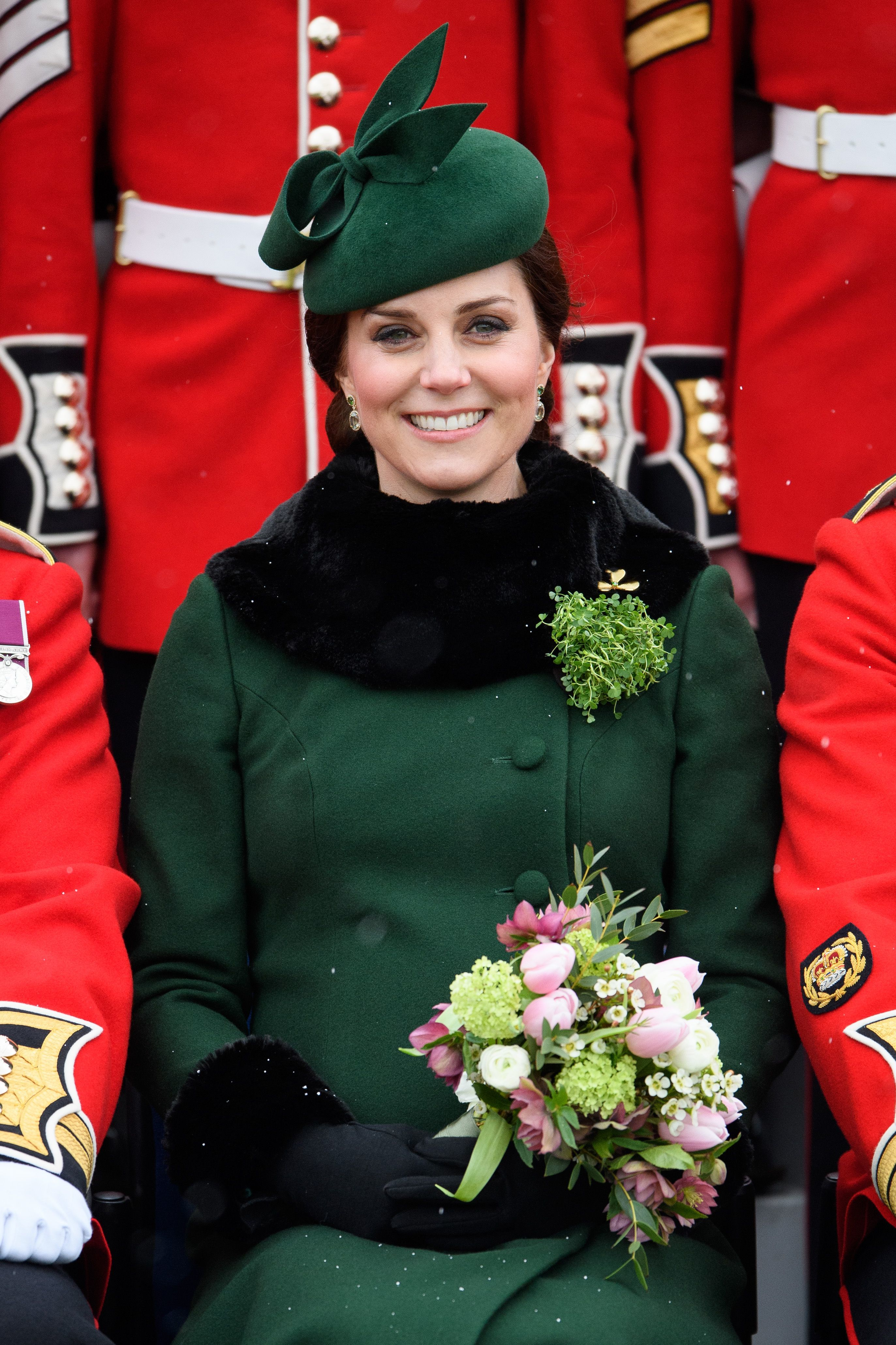 Duchess Kate attends the St Patrick's Day Parade at Cavalry Barracks in Hounslow on March 17, 2018.