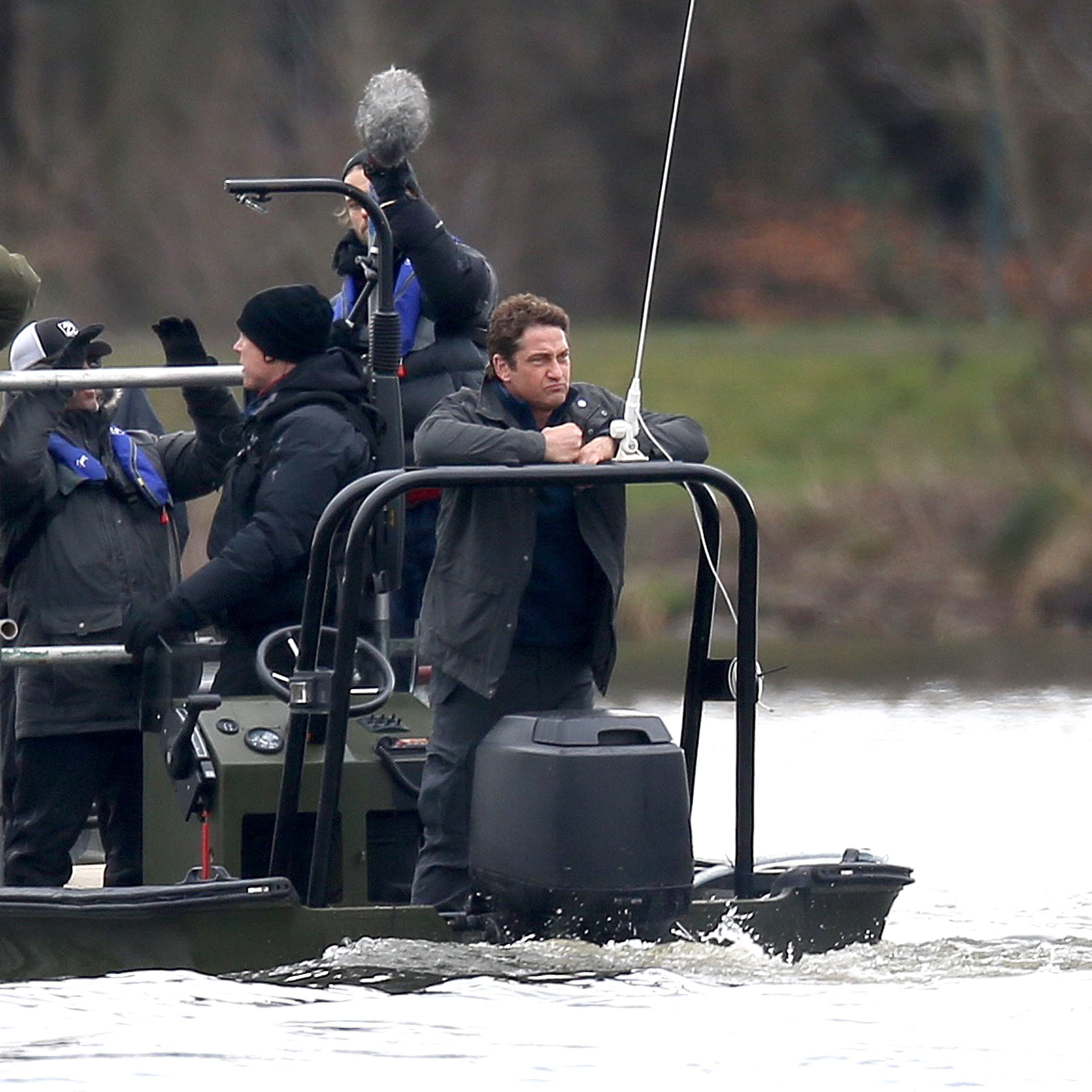 "Gerard Butler films scenes on a lake for the ""Angel Has Fallen"" in West London, United Kingdom, on March 6, 2018."