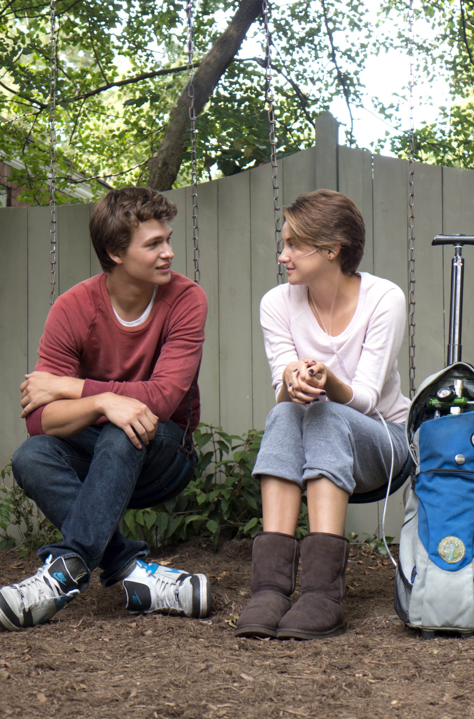 "Ansel Elgort and Shailene Woodley are shown on the set of ""The Fault in Our Stars"" in 2014."