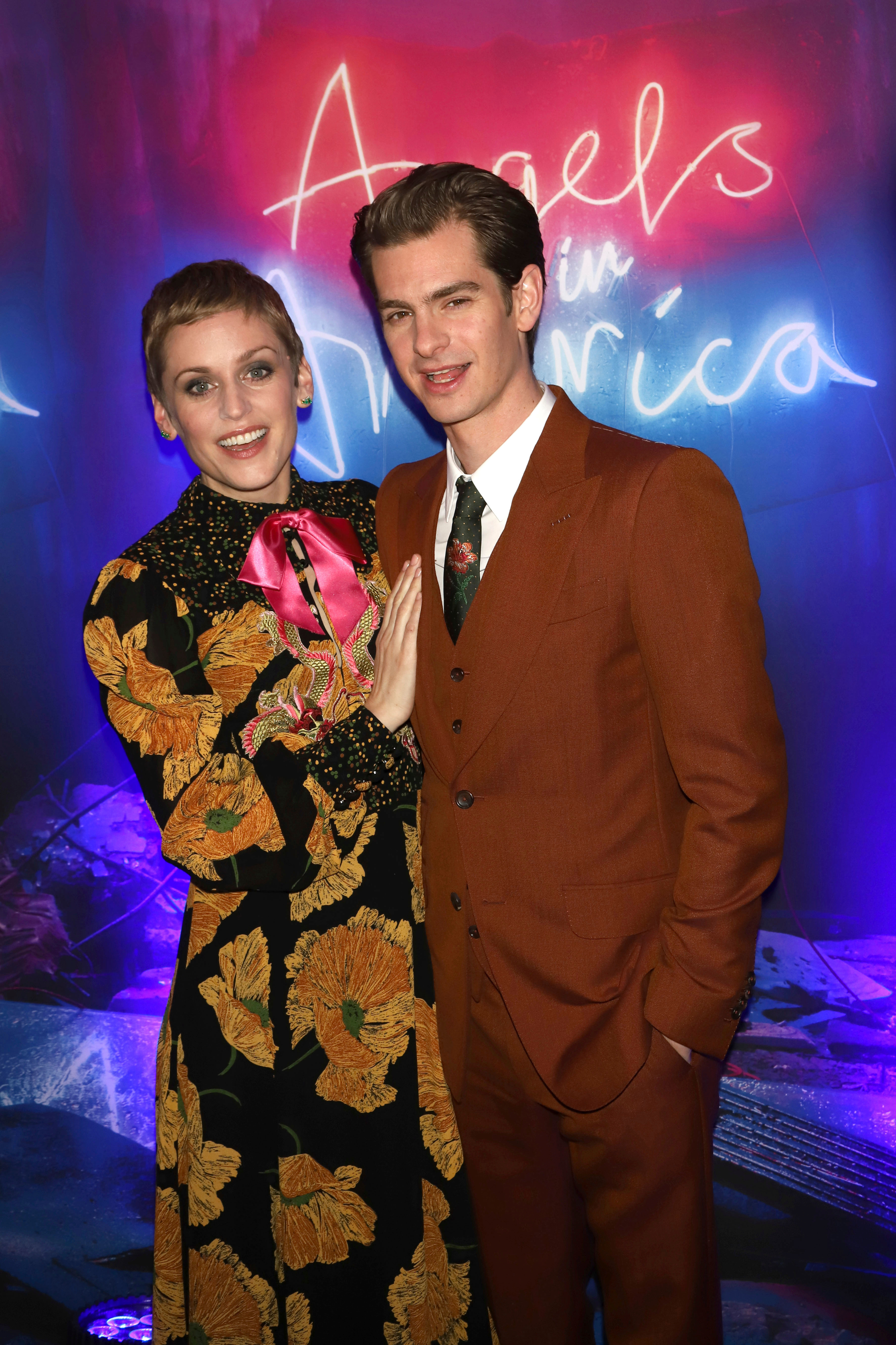 """Denise Gough and Andrew Garfield attend the after party for the """"Angels in America"""" Broadway revival opening night at Espace in New York City on March 25, 2018."""