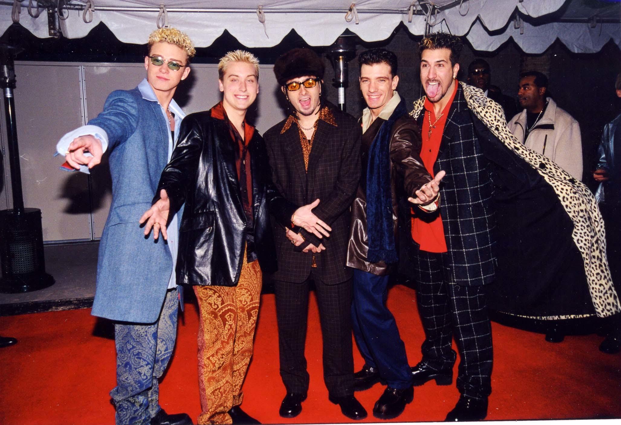 Justin Timberlake, Lance Bass, Chris Kirkpatrick, JC Chasez and Joey Fatone of *NSYNC attend the Billboard Awards at MGM Grand Hotel/Casino in Las Vegas on Dec. 7, 1998.