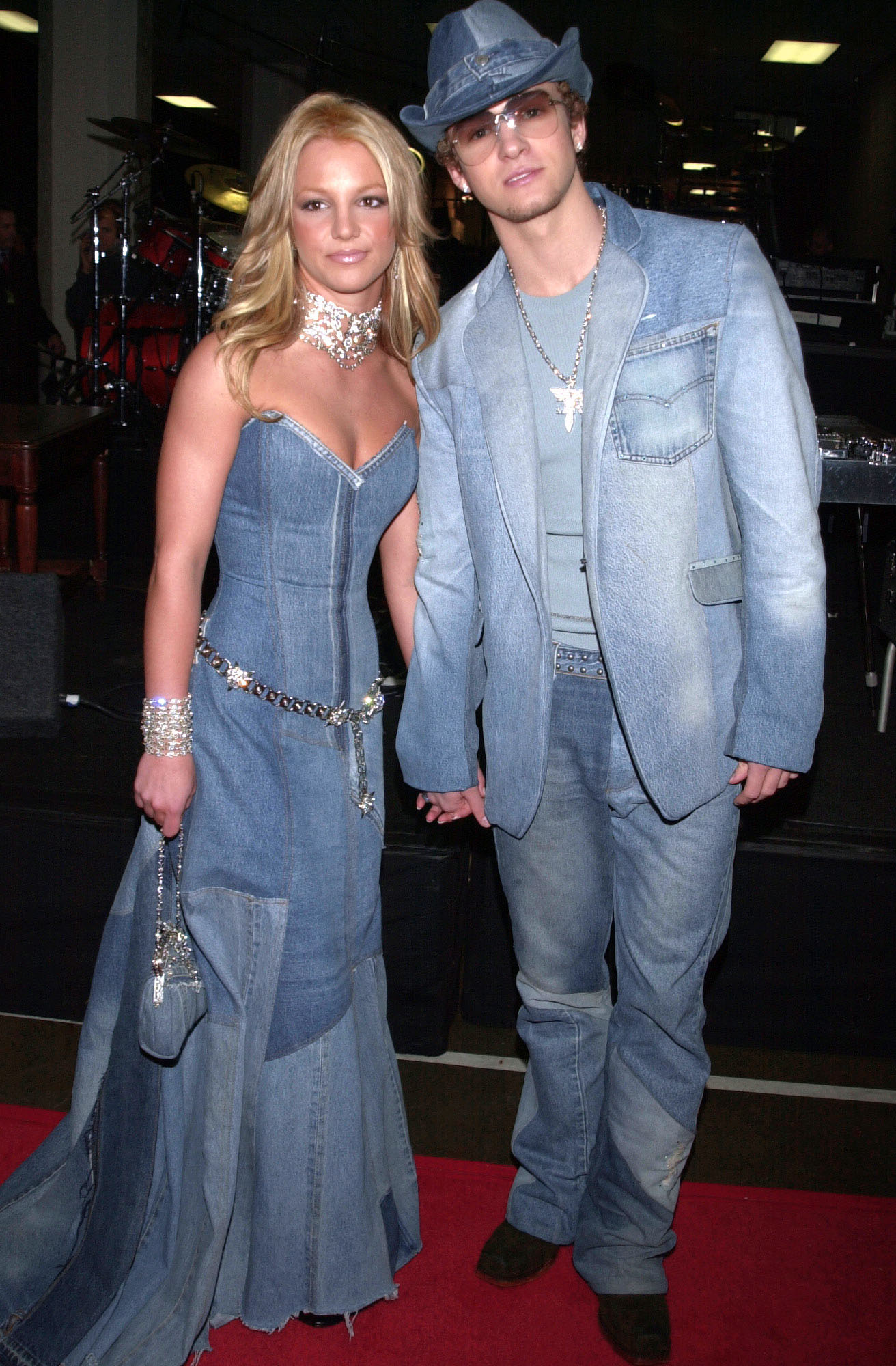 Britney Spears and Justin Timberlake attend the 28th Annual American Music Awards at the Shrine Auditorium in Los Angeles on Jan. 8, 2001.