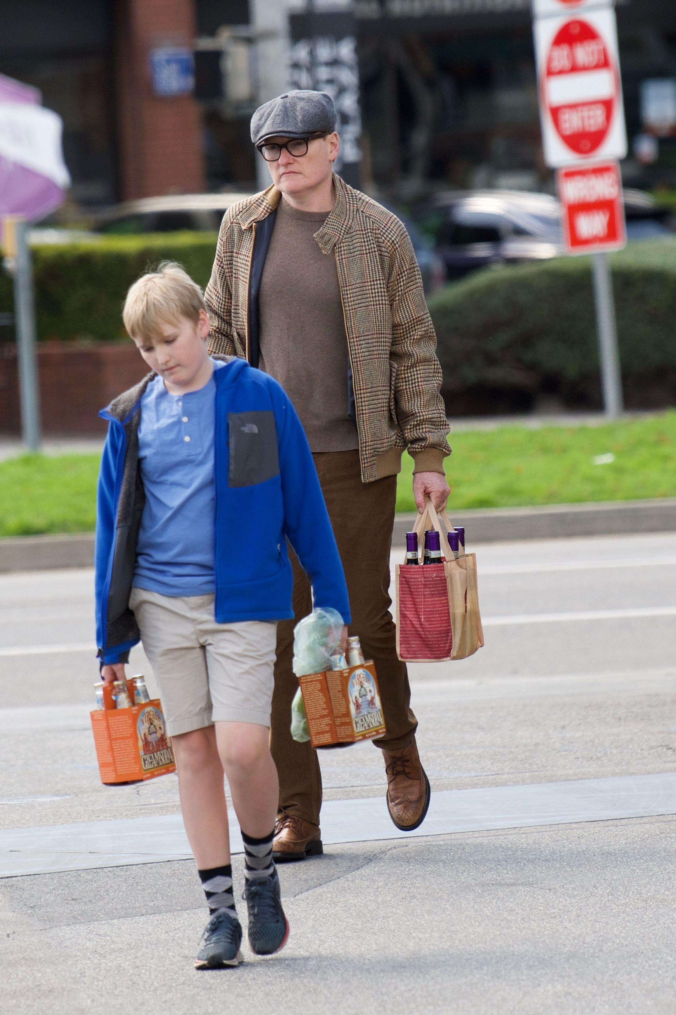 Conan O'Brien  and his son Beckett were spotted doing some shopping in Los Angeles on March 28, 2018.