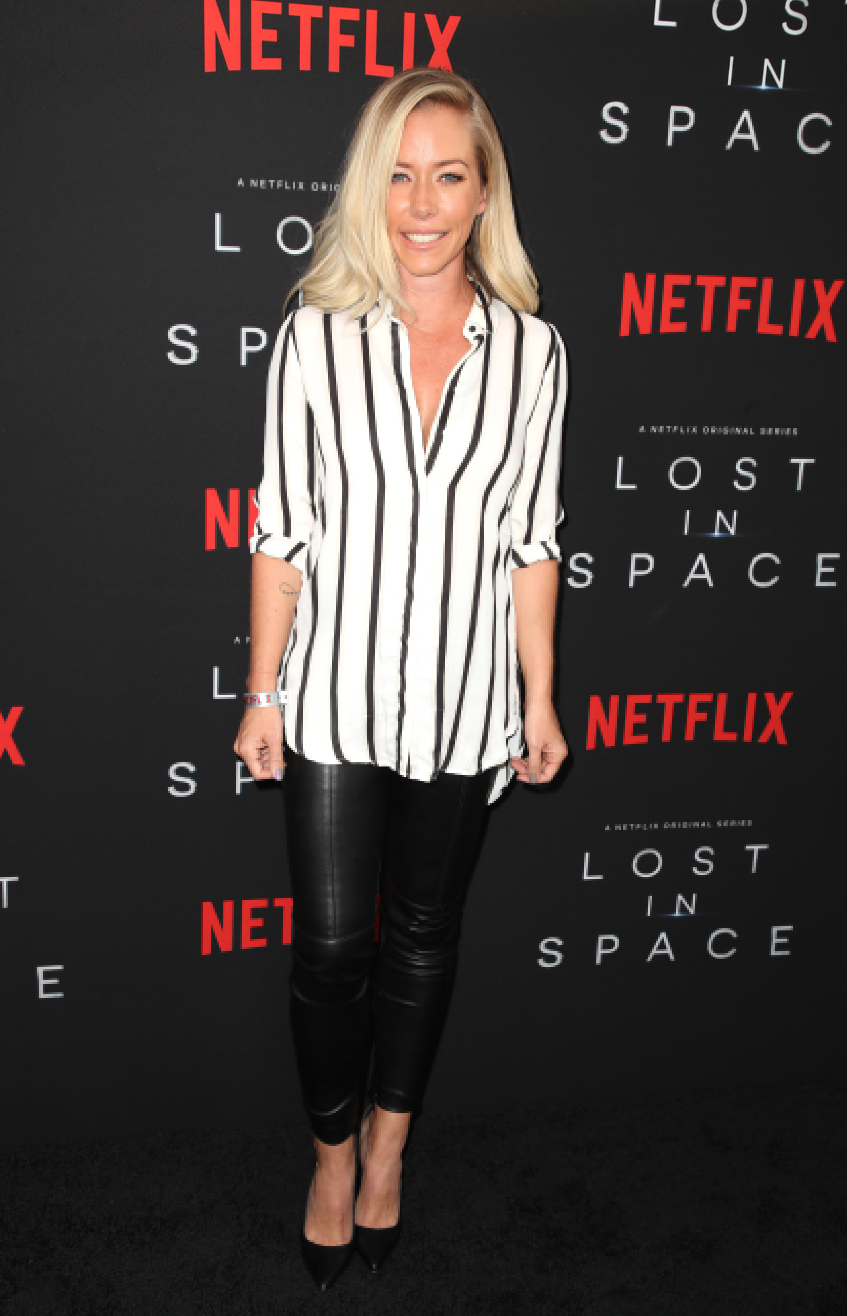 "Kendra Wilkinson attends the ""Lost In Space"" series premiere in Los Angeles on April 9, 2018."
