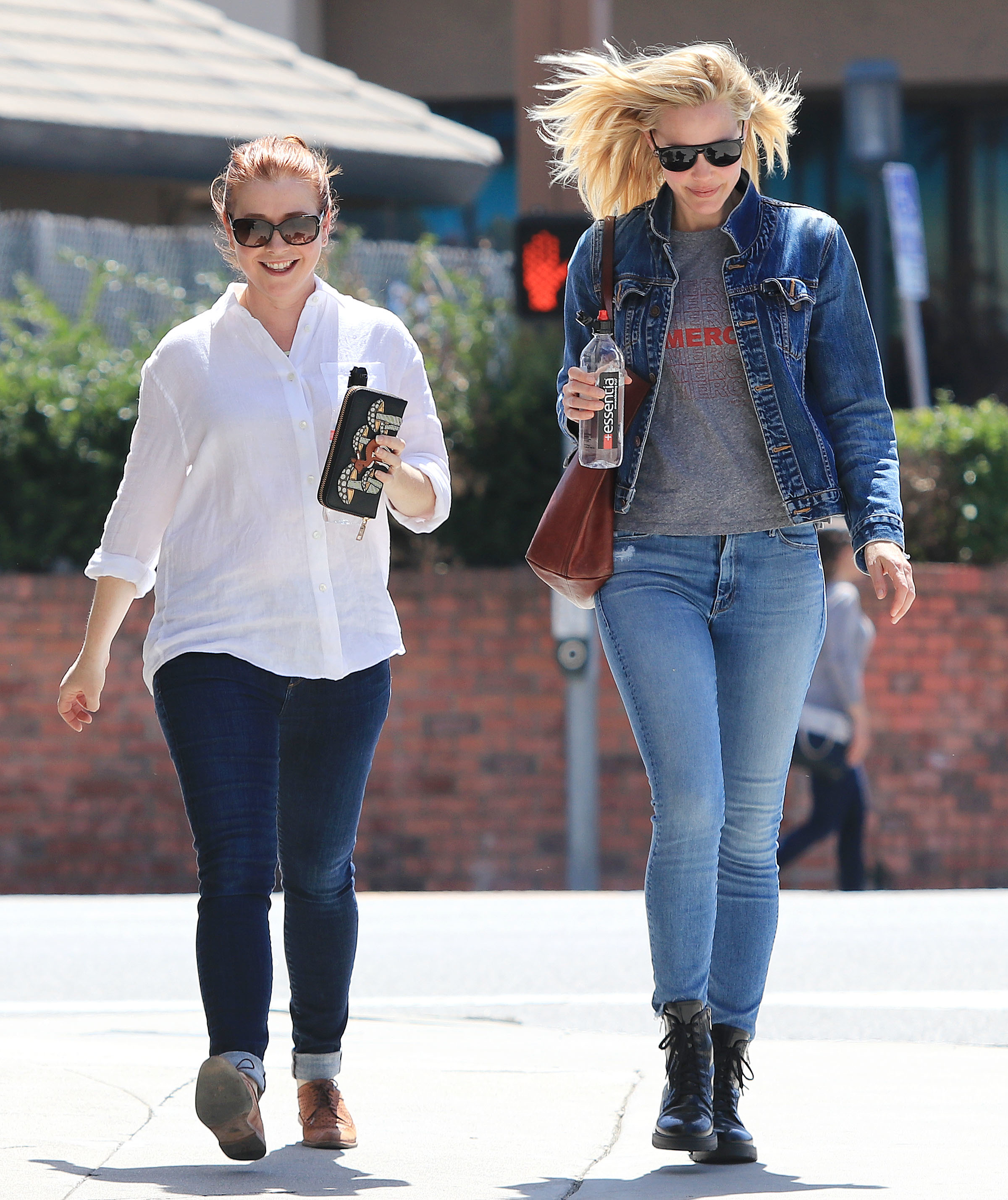 Alyson Hannigan and Leslie Bibb are spotted out and about in Los Angeles on April 10, 2018.