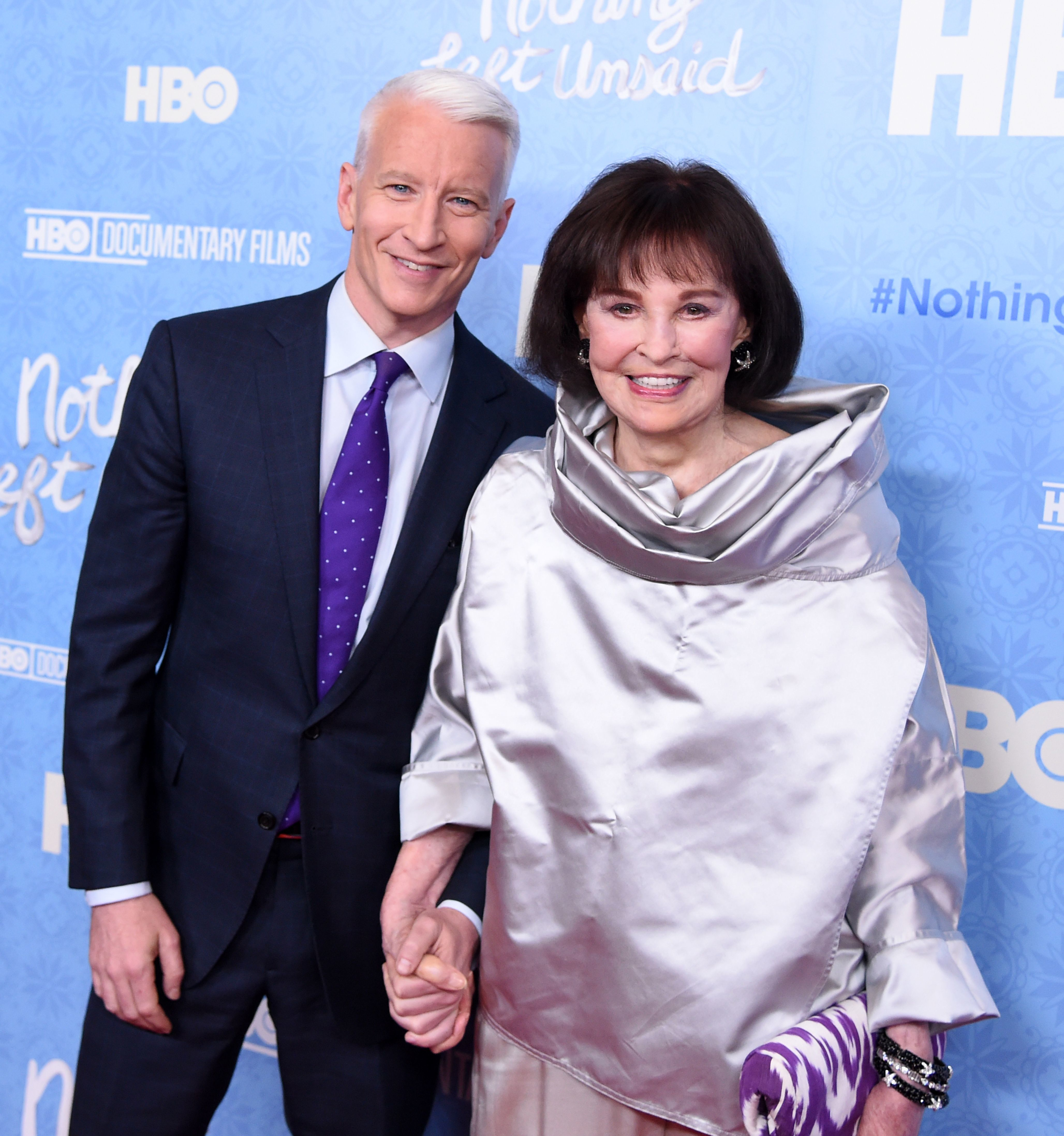 "Anderson Cooper and Gloria Vanderbilt arrive at the premiere of the HBO documentary ""Nothing Left Unsaid: Gloria Vanderbilt and Anderson Cooper"" in New York City on April 4, 2016."