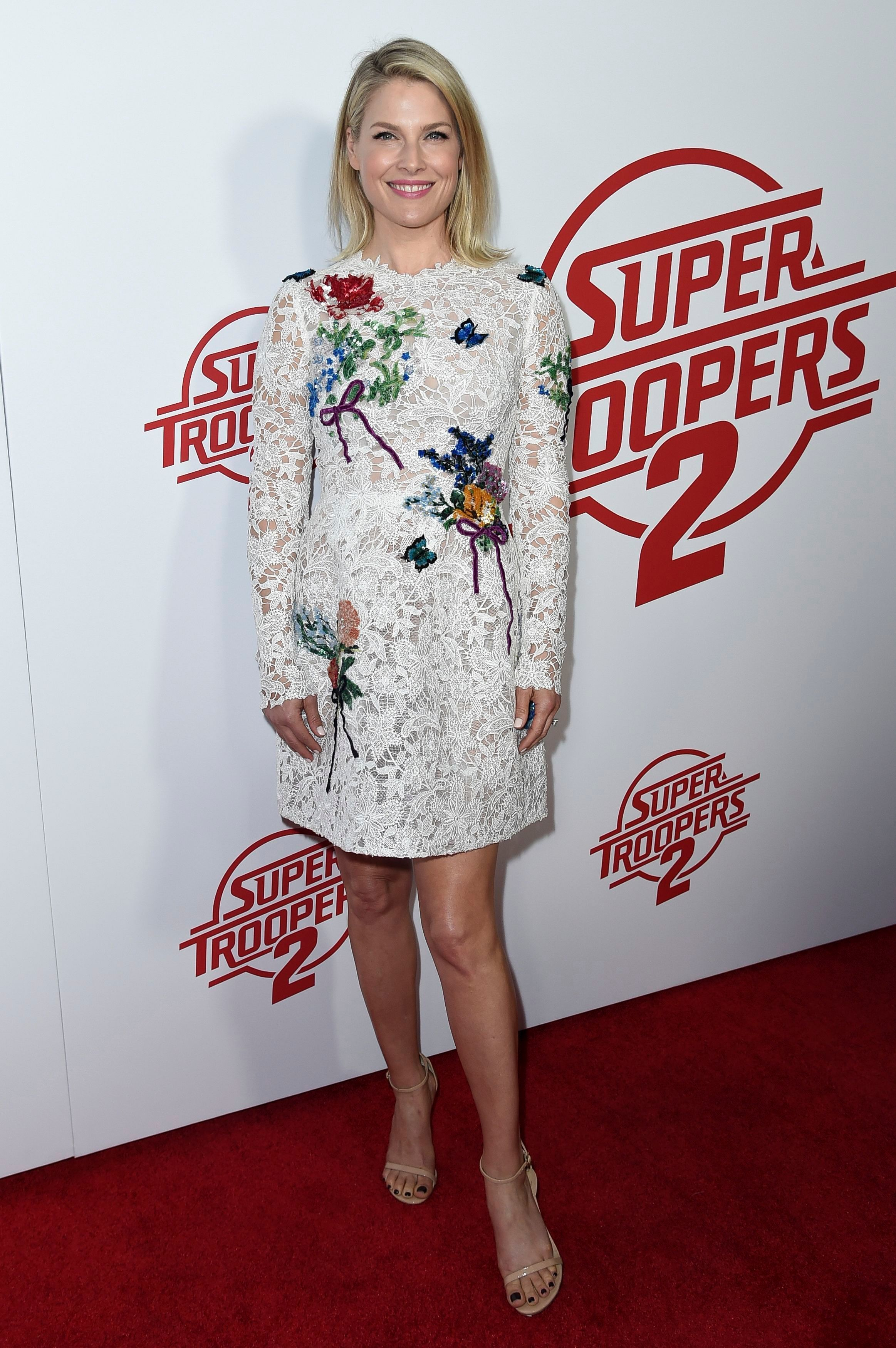 """Ali Larter attends the premiere of """"Super Troopers 2"""" in Los Angeles on April 11, 2018."""