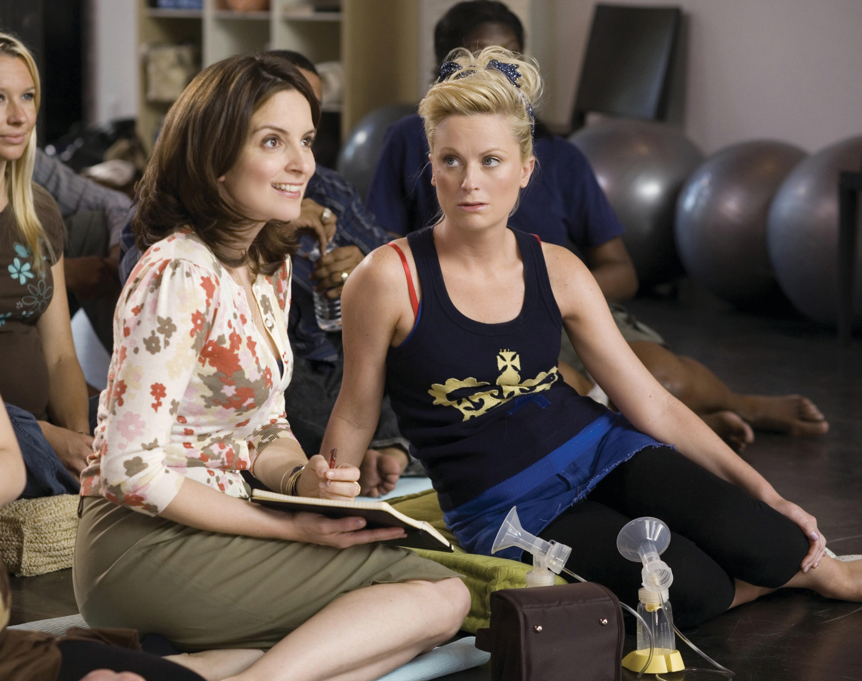 "Tina Fey and Amy Poehler are shown on the set ""Baby Mama"" in 2008."