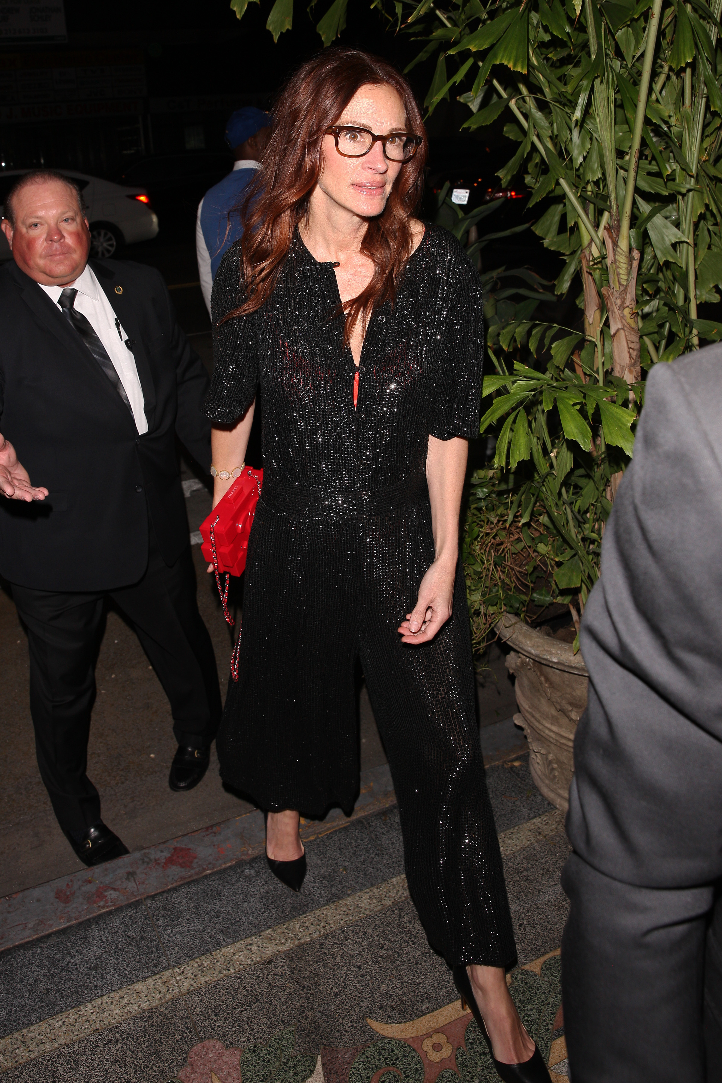 Julia Roberts arrives at Gwyneth Paltrow and Brad Falchuk's engagement party at the Los Angeles Theater in downtown L.A. on April 14, 2018.