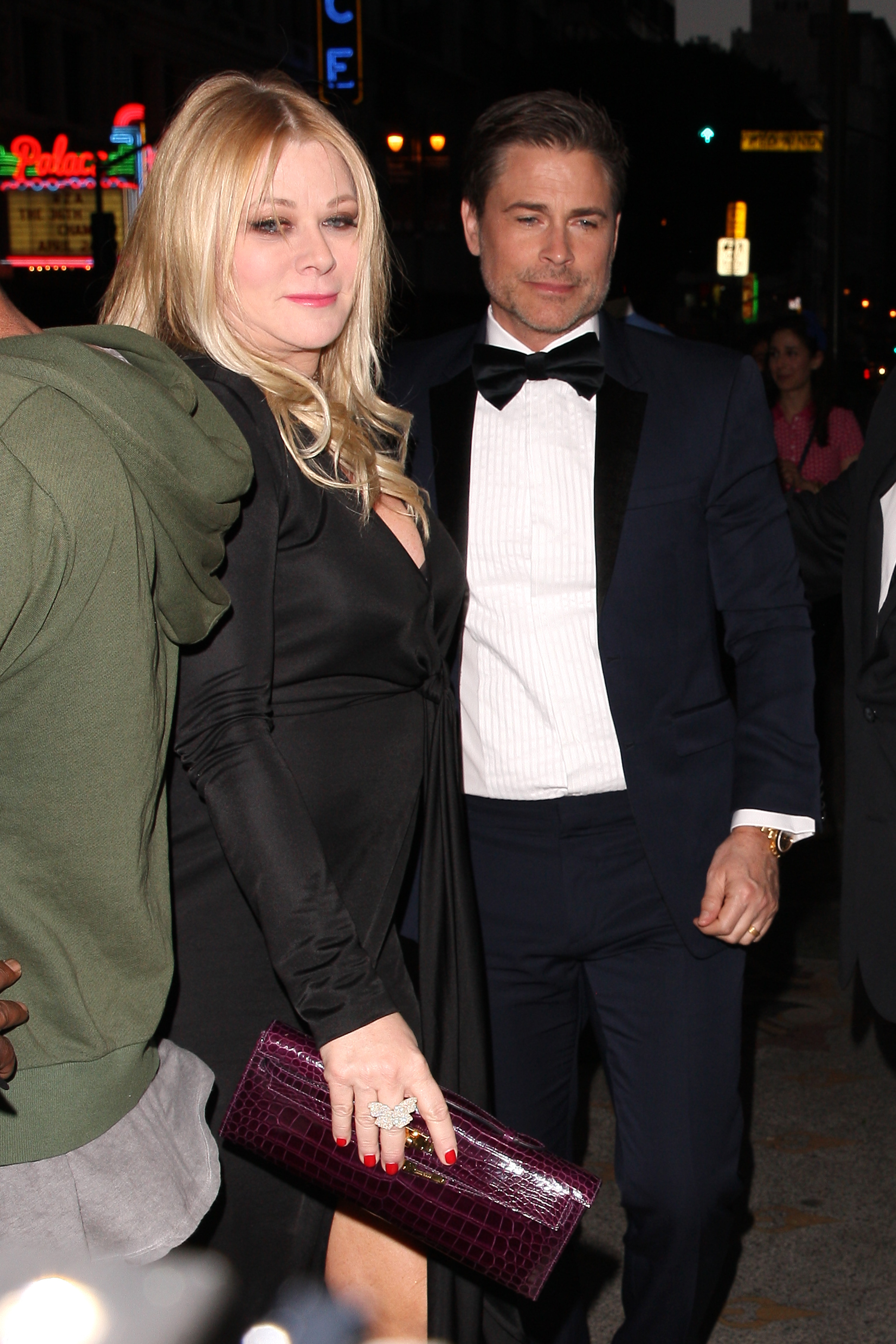 Rob Lowe and wife Sheryl Berkoff arrive at Gwyneth Paltrow and Brad Falchuk's engagement party at the Los Angeles Theater in downtown L.A. on April 14, 2018.