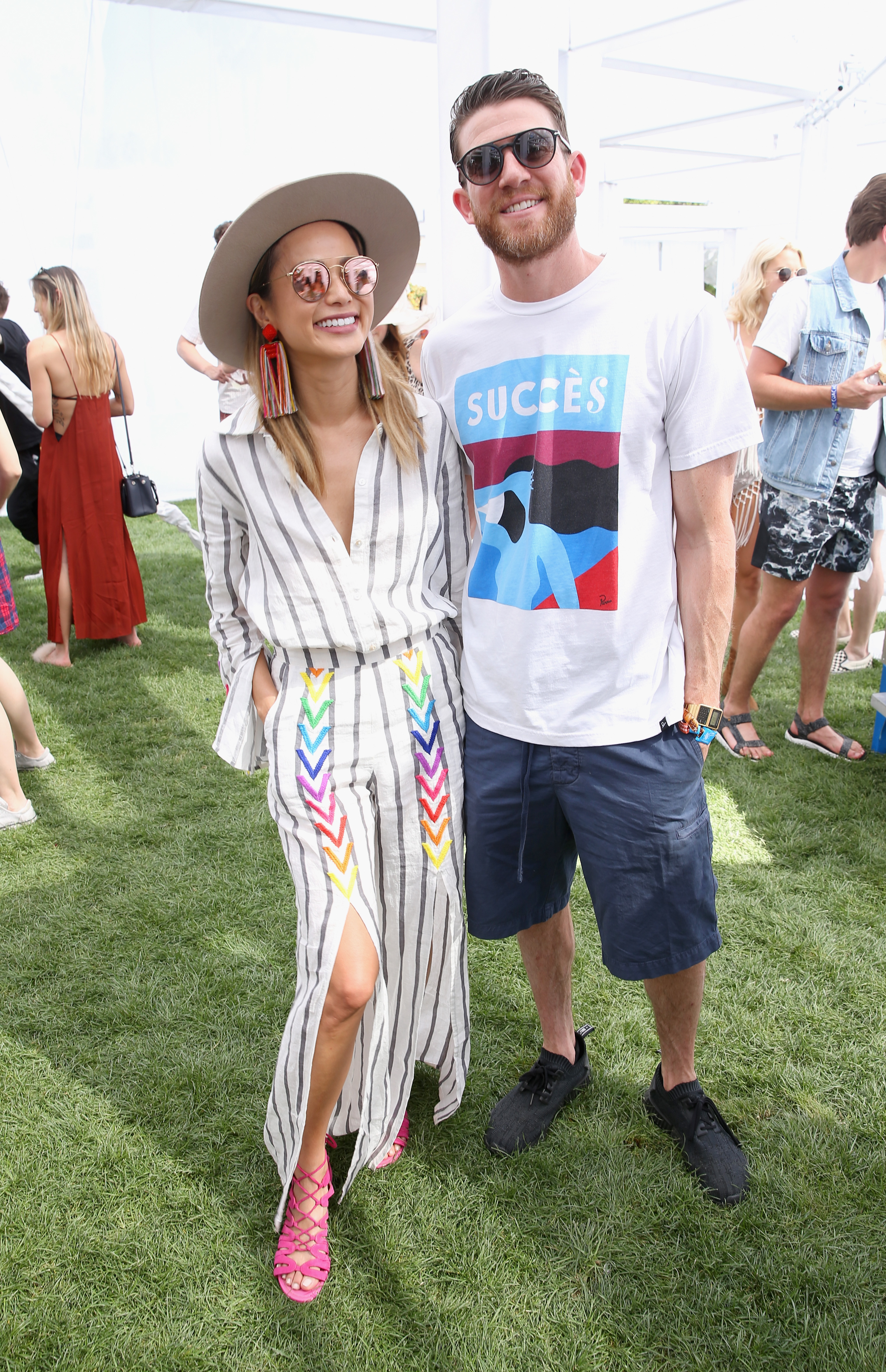 Jamie Chung and Brian Greenberg visit the American Express Platinum House at the Parker Palm Springs on April 14, 2018.