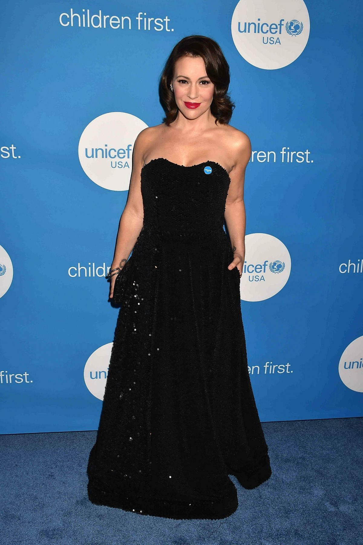 Alyssa Milano attends the Unicef Ball in Los Angeles on April 14, 2018.