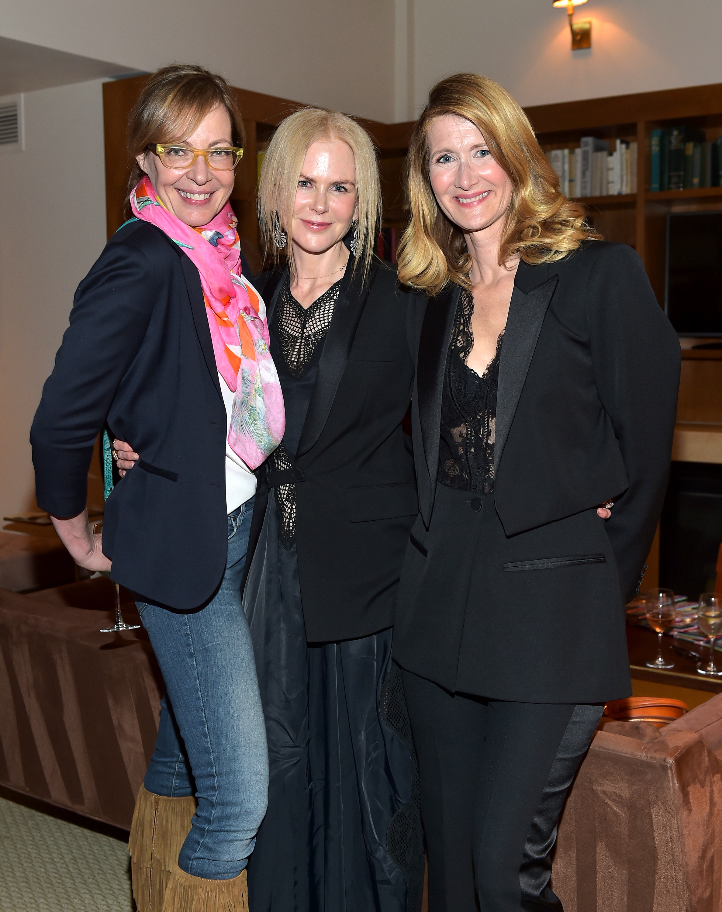 Allison Janney, Nicole Kidman, and host Laura Dern attend InStyle and Brahmin's Badass Women Dinner in West Hollywood, California, on April 14, 2018.