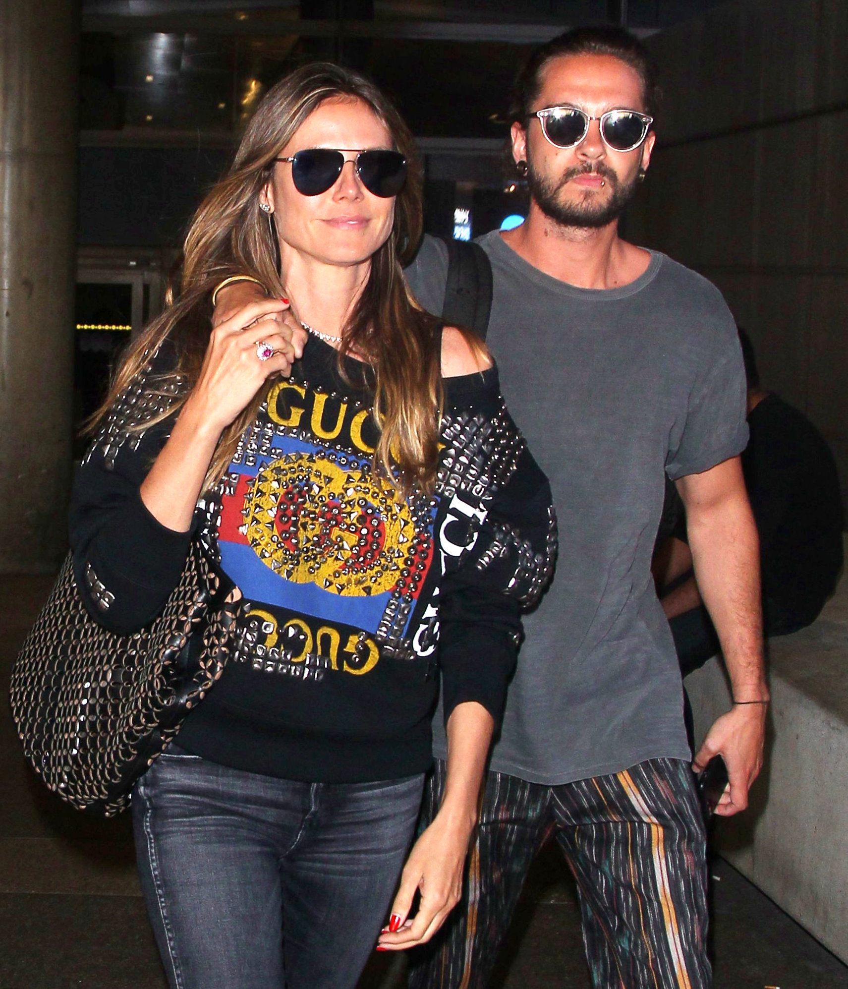 Heidi Klum and Tom Kaulitz return to Los Angeles on April 12, 2018, after a vacation in Cabo San Lucas, Mexico.