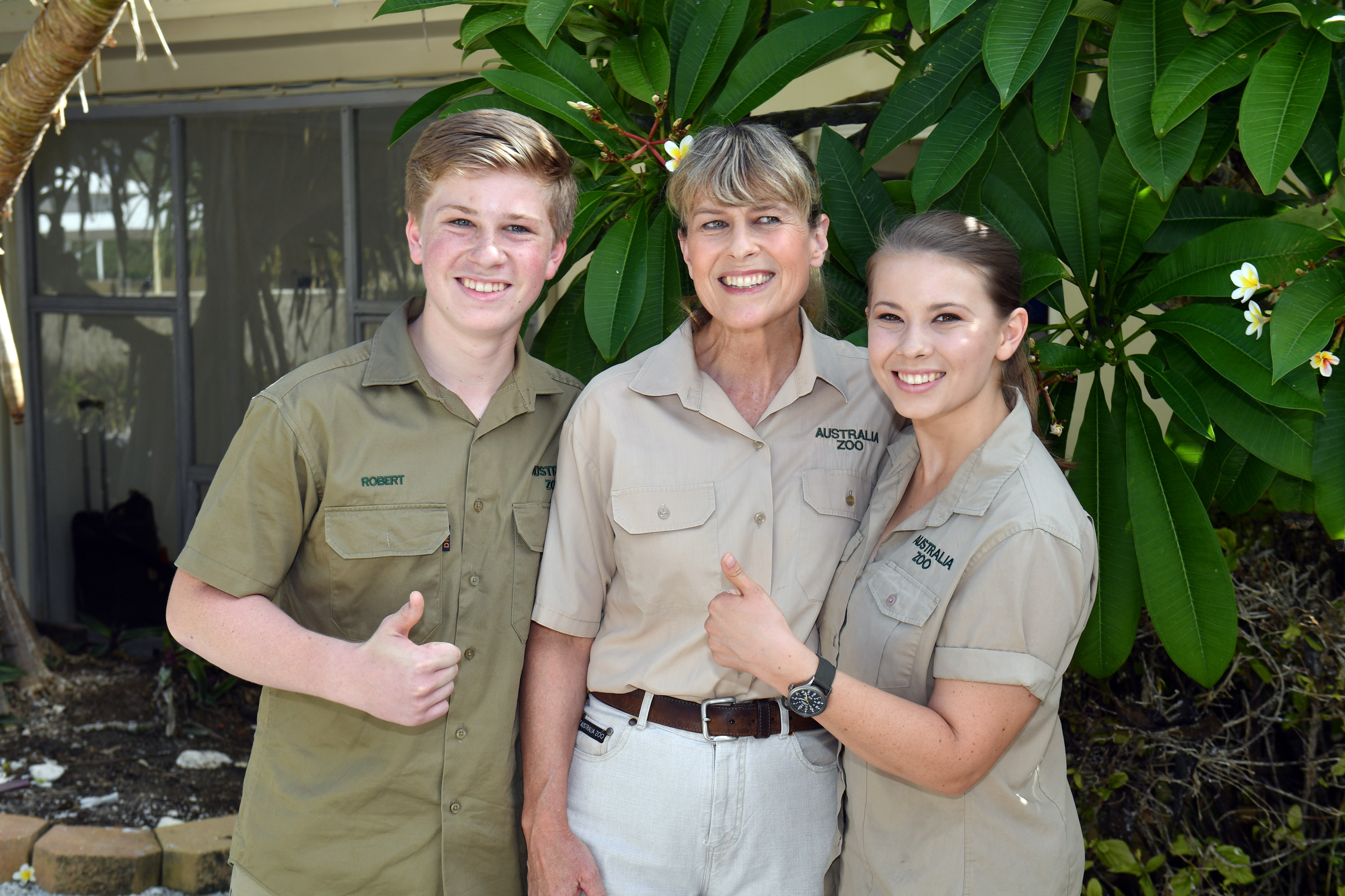 Robert Irwin, Terri Irwin and Bindi Irwin pose for a photo before a roundtable meeting discussing coral resilience on Lady Elliot Island in Queensland, Australia, on April 6, 2018.
