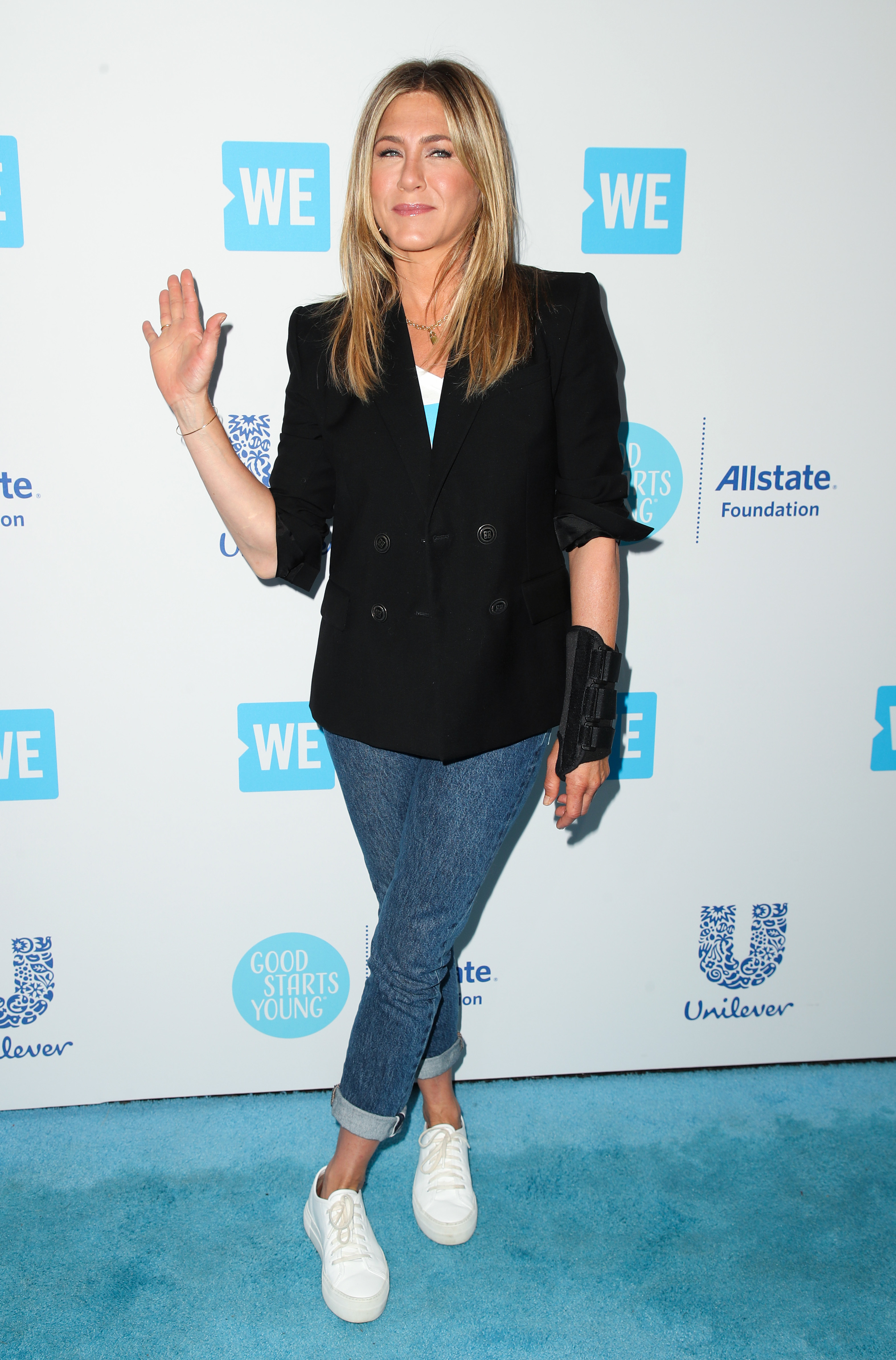 Jennifer Aniston attends the WE Day California event in Los Angeles on April 19, 2018.