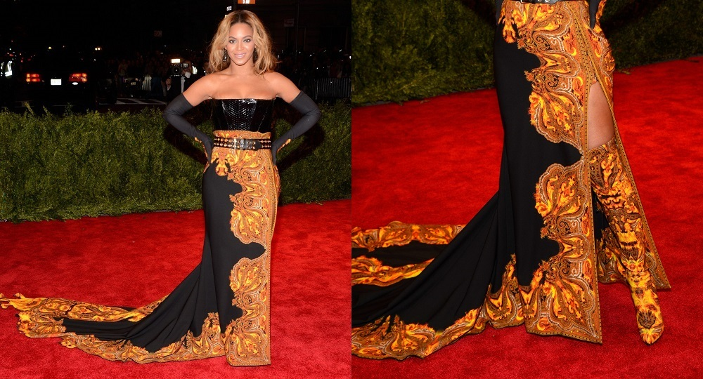 """Beyonce attends the Costume Institute Gala for the """"PUNK: Chaos to Couture"""" exhibition at the Metropolitan Museum of Art in New York on May 6, 2013.  (Photo by Kevin Mazur/WireImage)"""