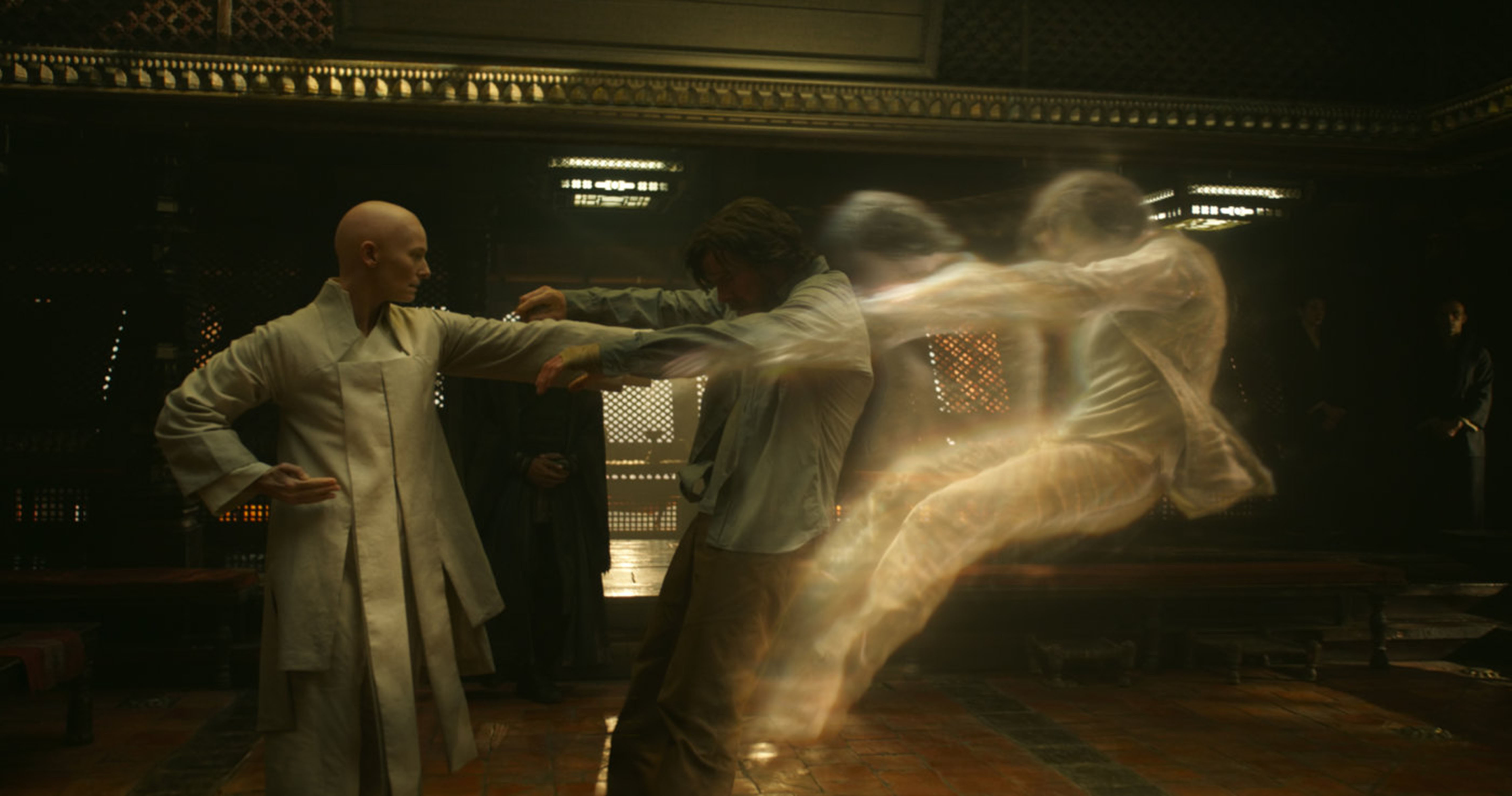 """Tilda Swinton as the Ancient One and Benedict Cumberbatch as Dr. Strange in 2016's """"Doctor Strange."""""""