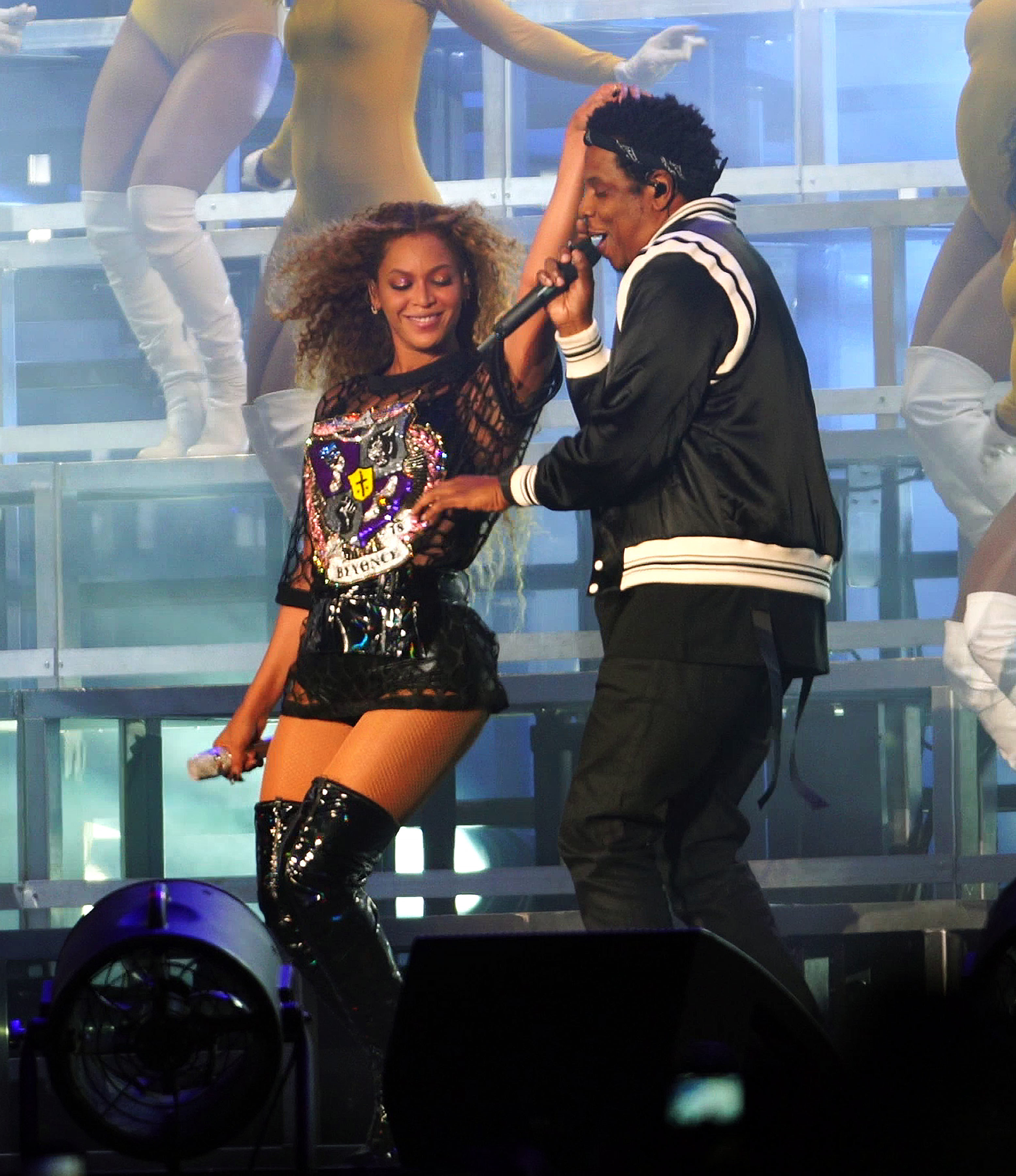 Beyonce and JAY Z perform during the Coachella Valley Music and Arts Festival at the Empire Polo Field in Indio, California, on April 14, 2018.
