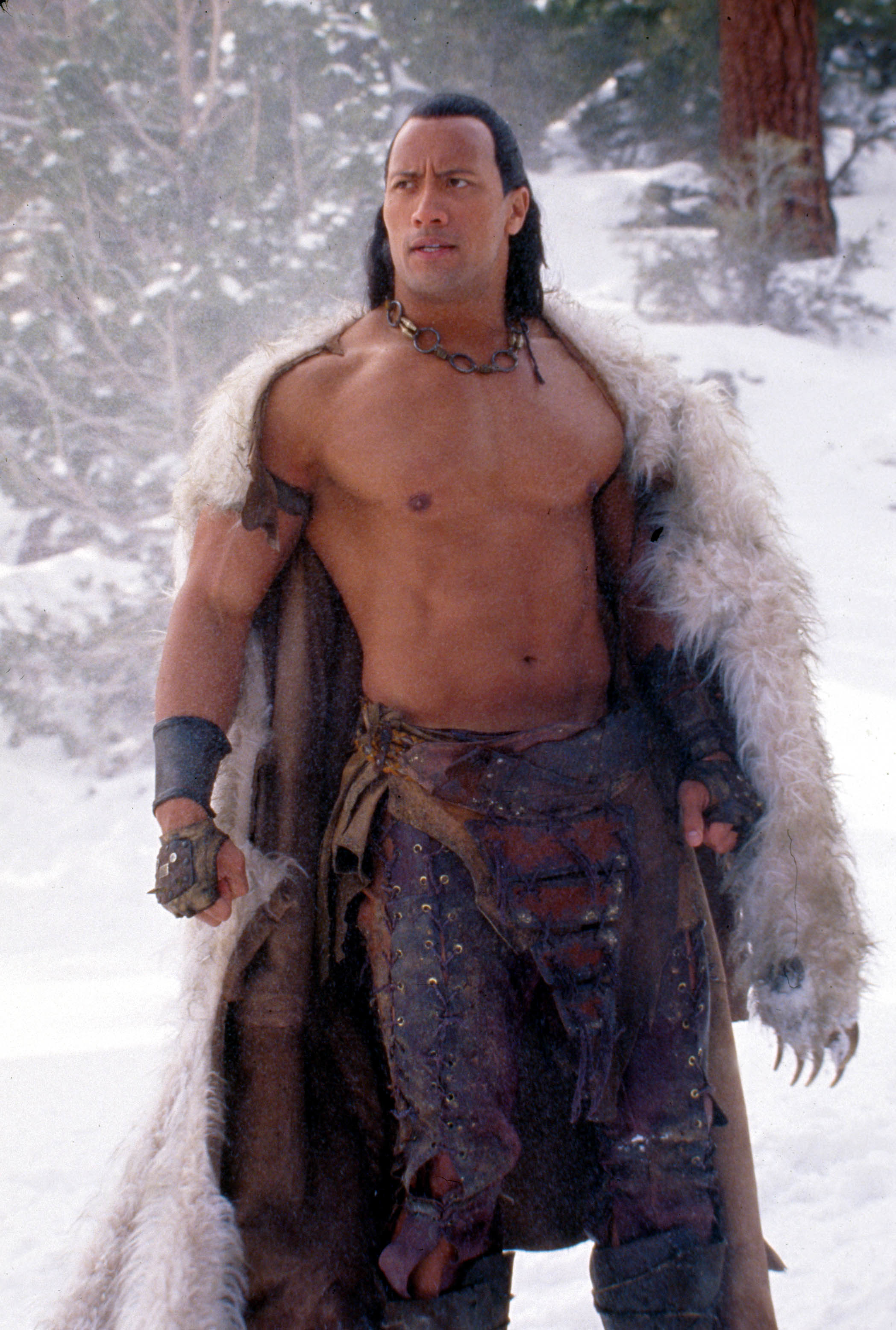 """Dwayne Johnson (The Rock) is pictured on the set of """"The Scorpion King"""" in 2002."""
