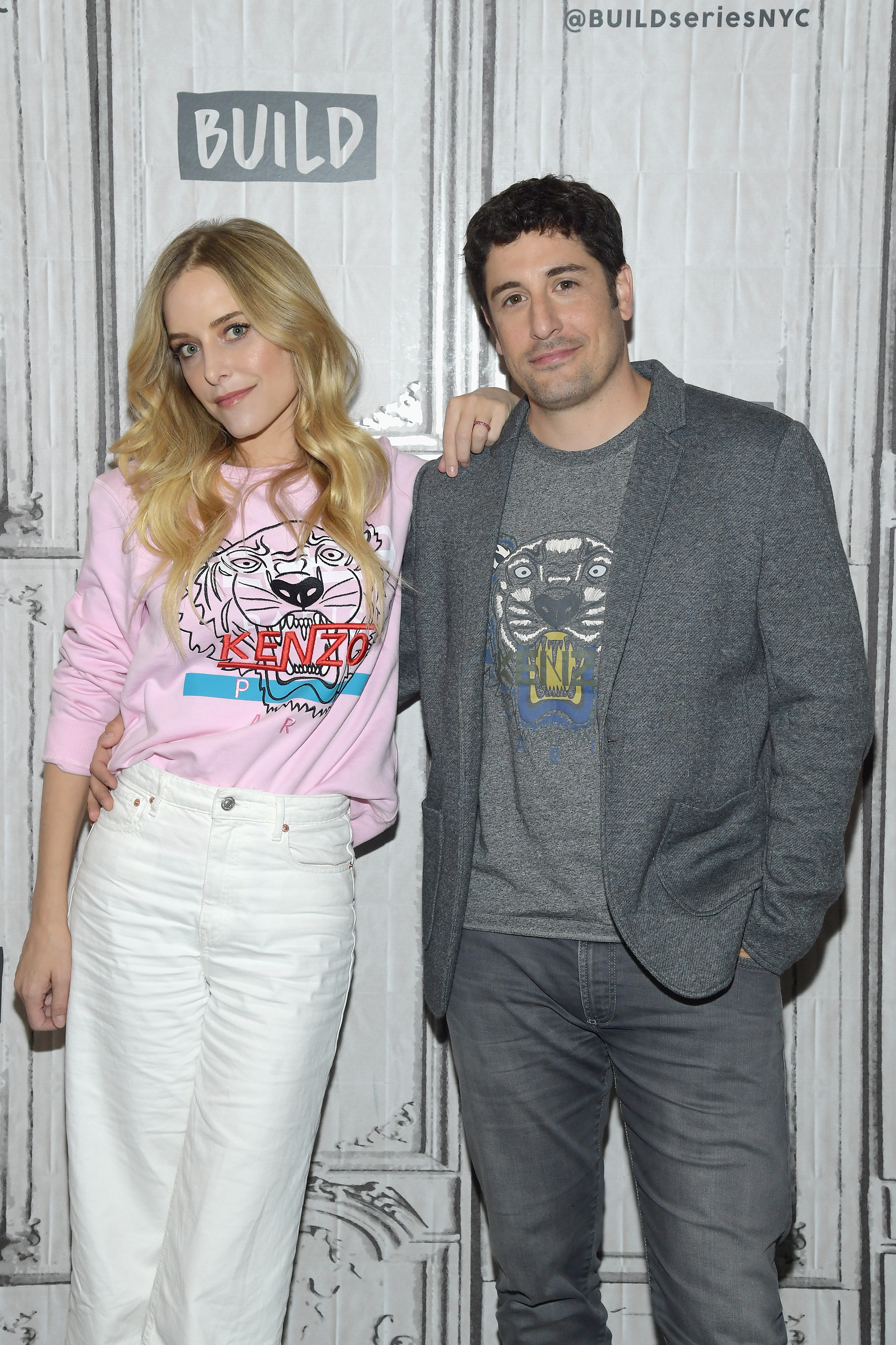"Jenny Mollen and Jason Biggs visit the Build Series to discuss the game show ""To Dust"" at Build Studio in New York City on April 23, 2018."