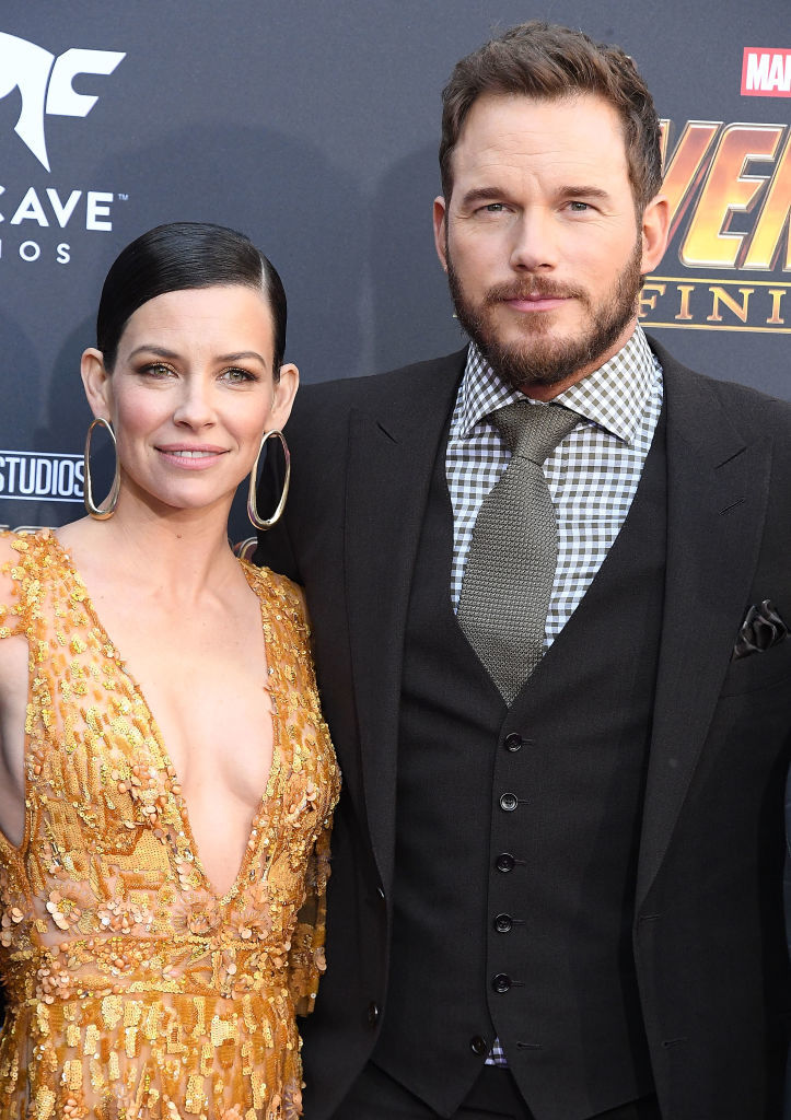 "Evangeline Lilly and Chris Pratt arrive at the Premiere Of Disney And Marvel's ""Avengers: Infinity War"" in Los Angeles on April 23, 2018."