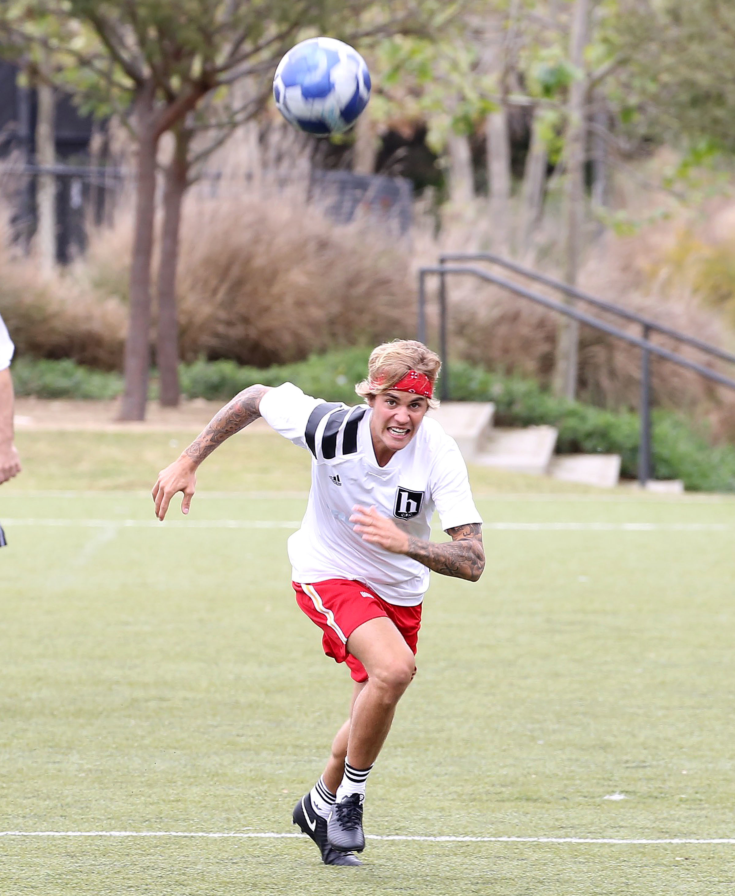Justin Bieber plays soccer in Los Angeles on April 9, 2018.