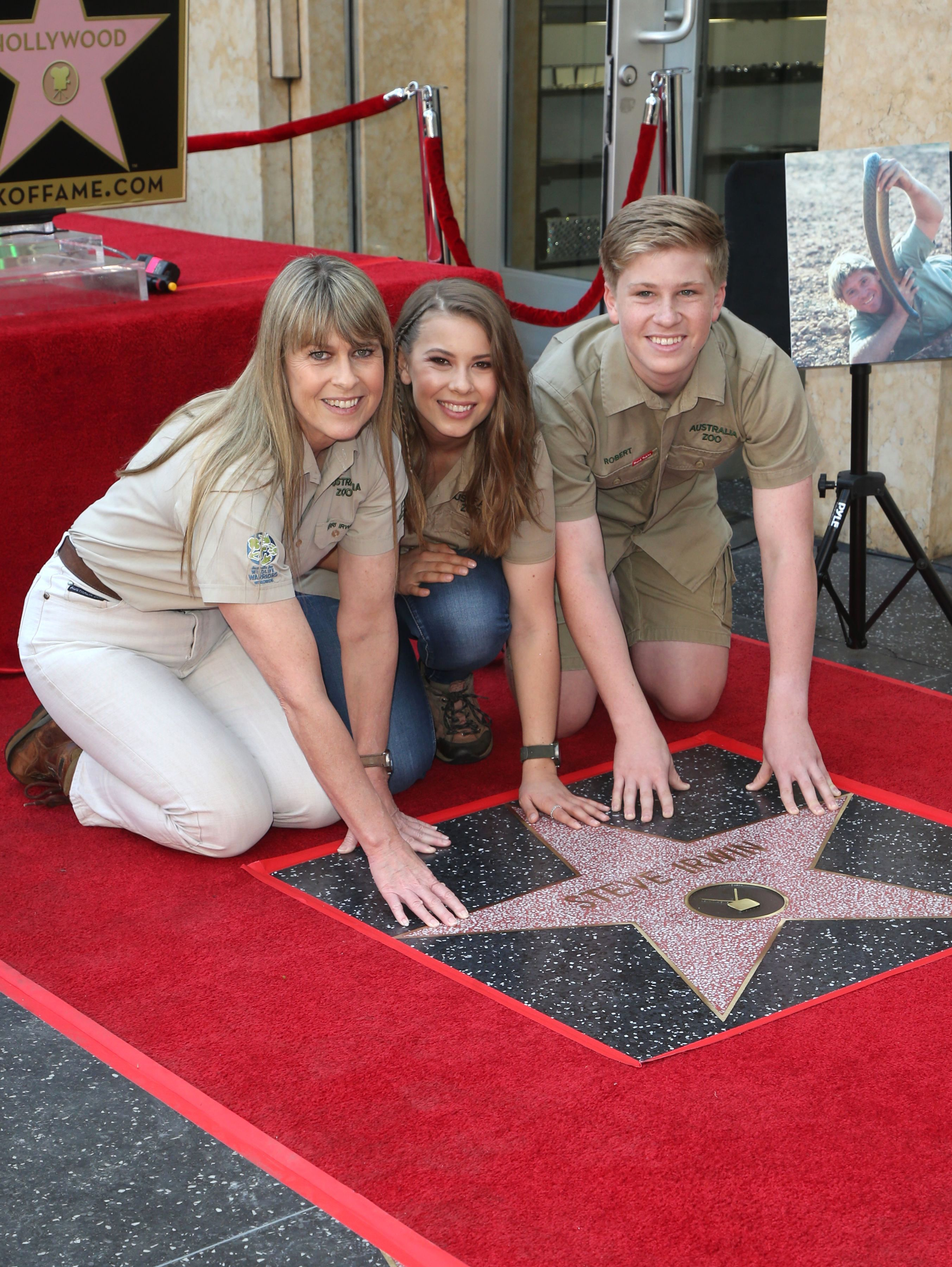 Terri Irwin, Bindi Irwin and Robert Irwin were all on hand as the late Steve Irwin was honored with a star on the Hollywood Walk of Fame on April 26, 2018.